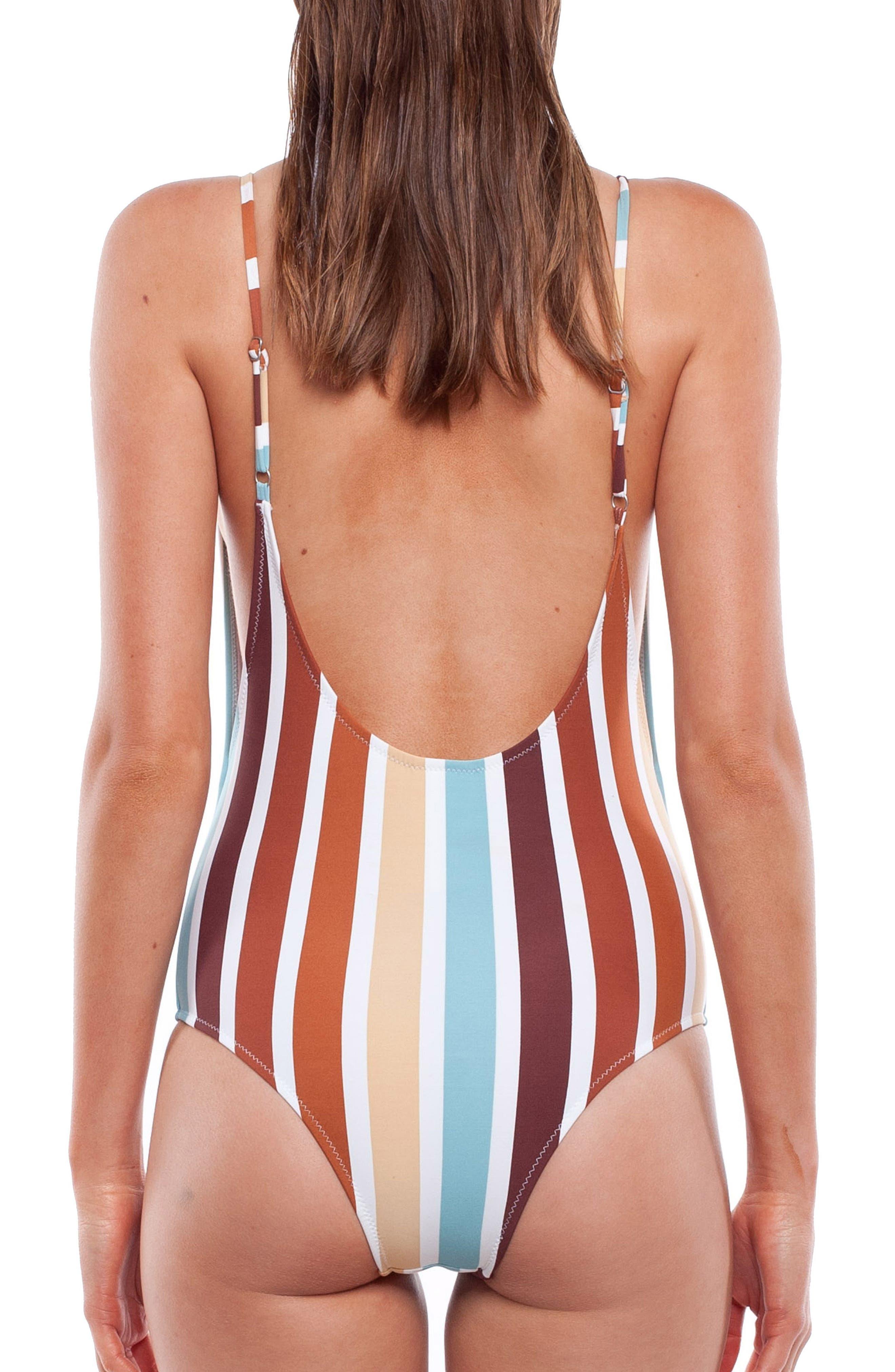 Stripe One-Piece Swimsuit,                             Alternate thumbnail 2, color,                             BLUE MULTI