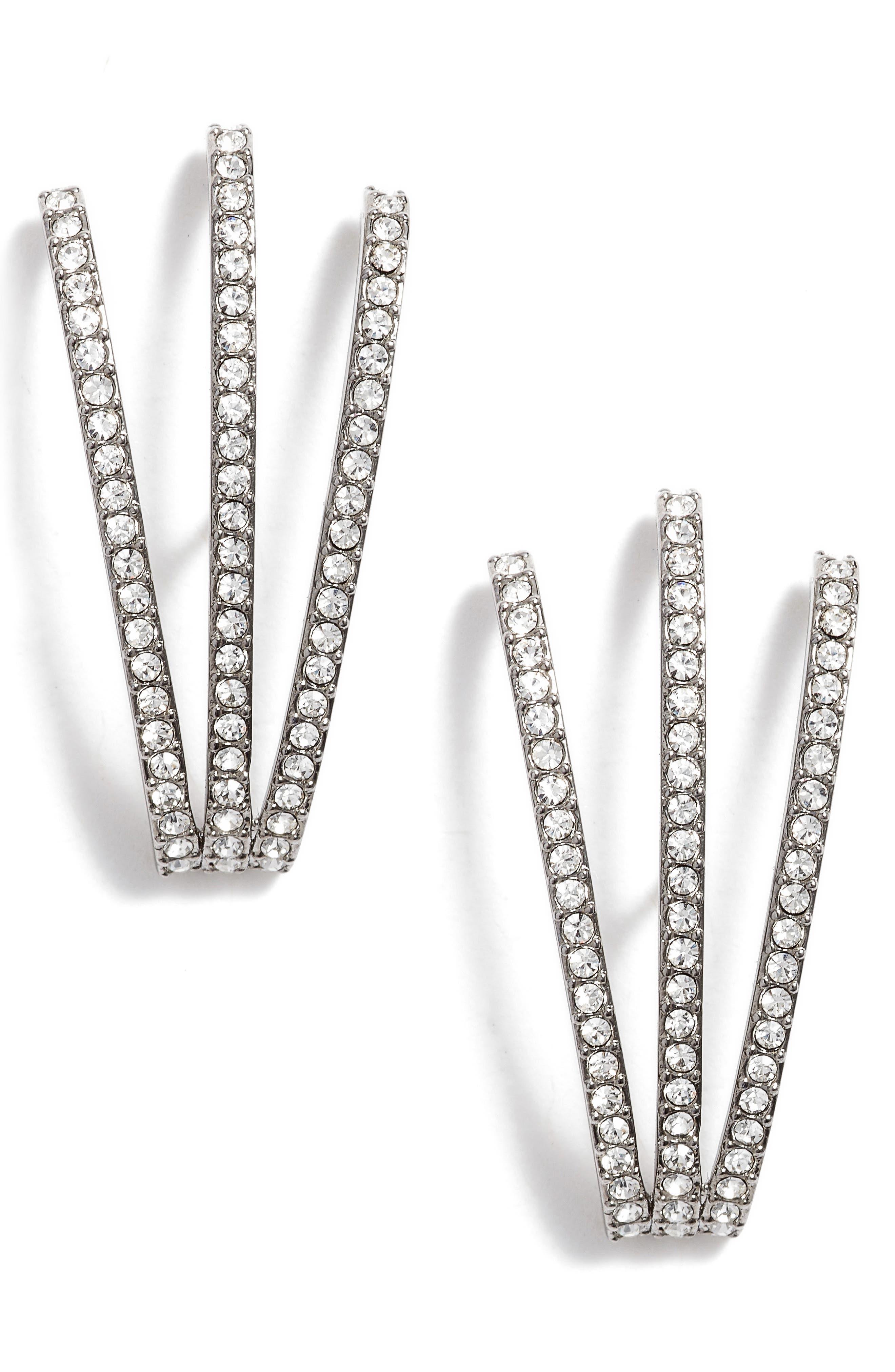 Three-Row Crystal Ear Cuffs,                             Main thumbnail 1, color,