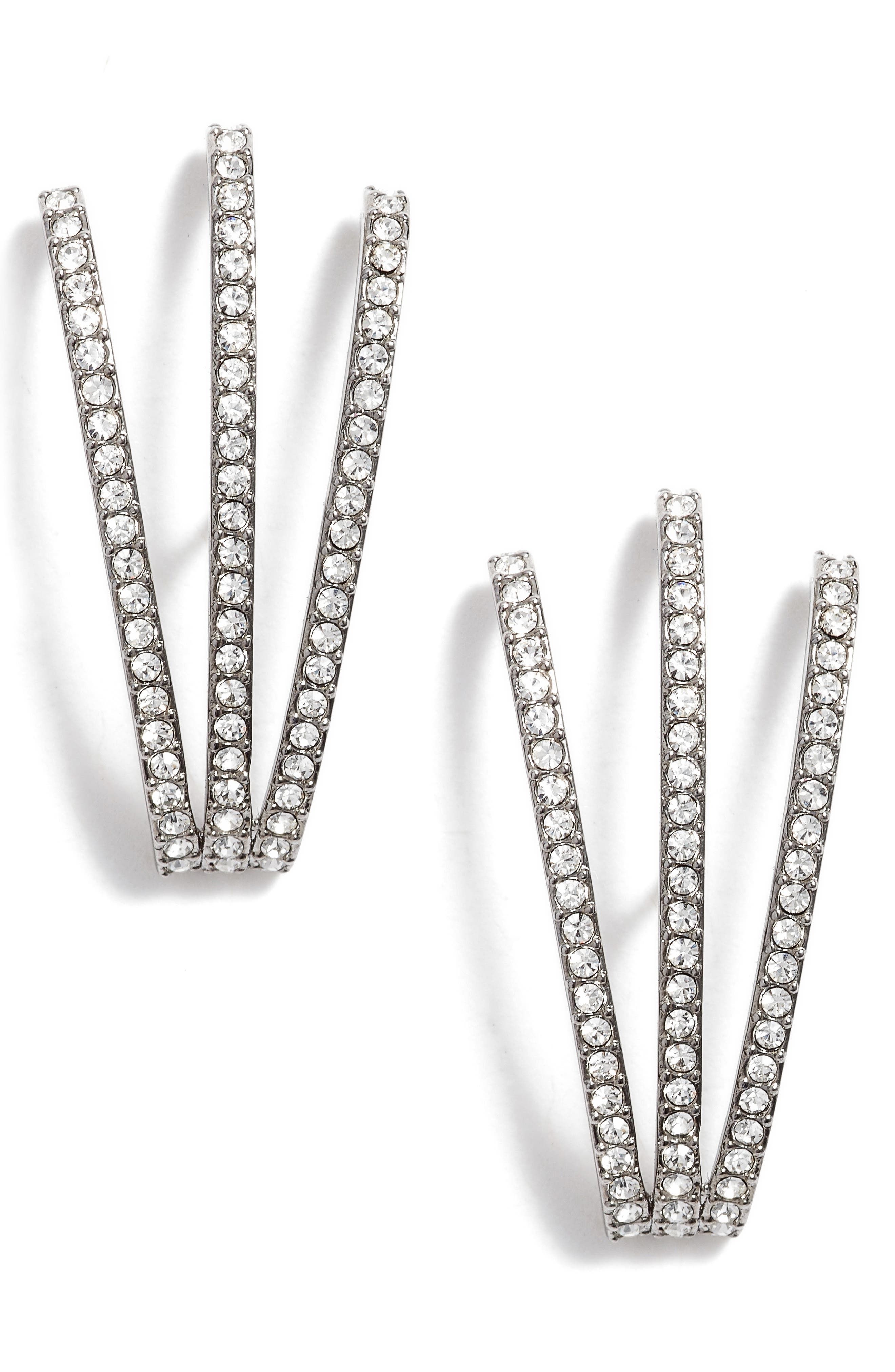 Three-Row Crystal Ear Cuffs,                         Main,                         color,
