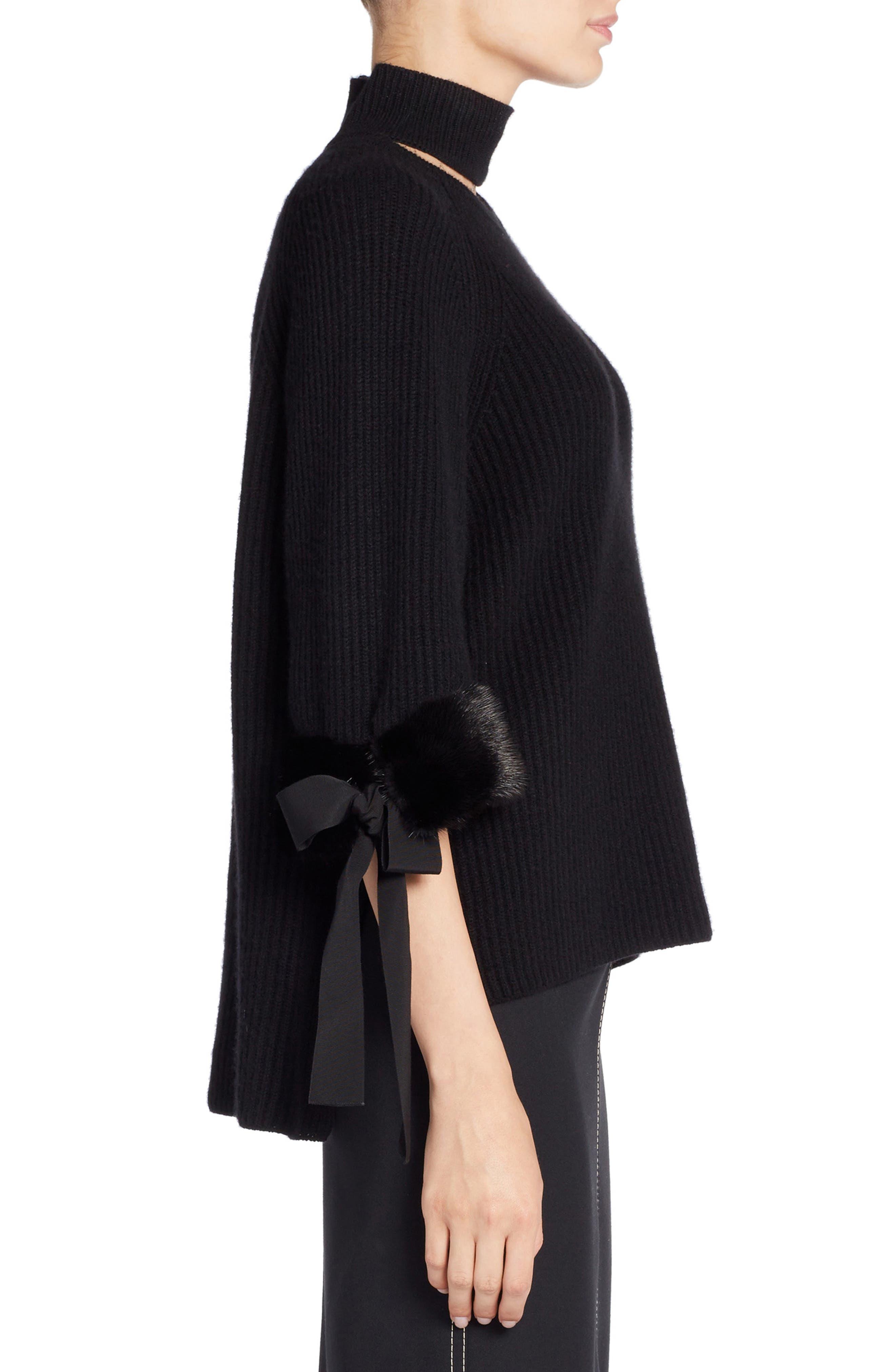 Cashmere & Genuine Mink Fur Sweater,                             Alternate thumbnail 3, color,                             BLACK