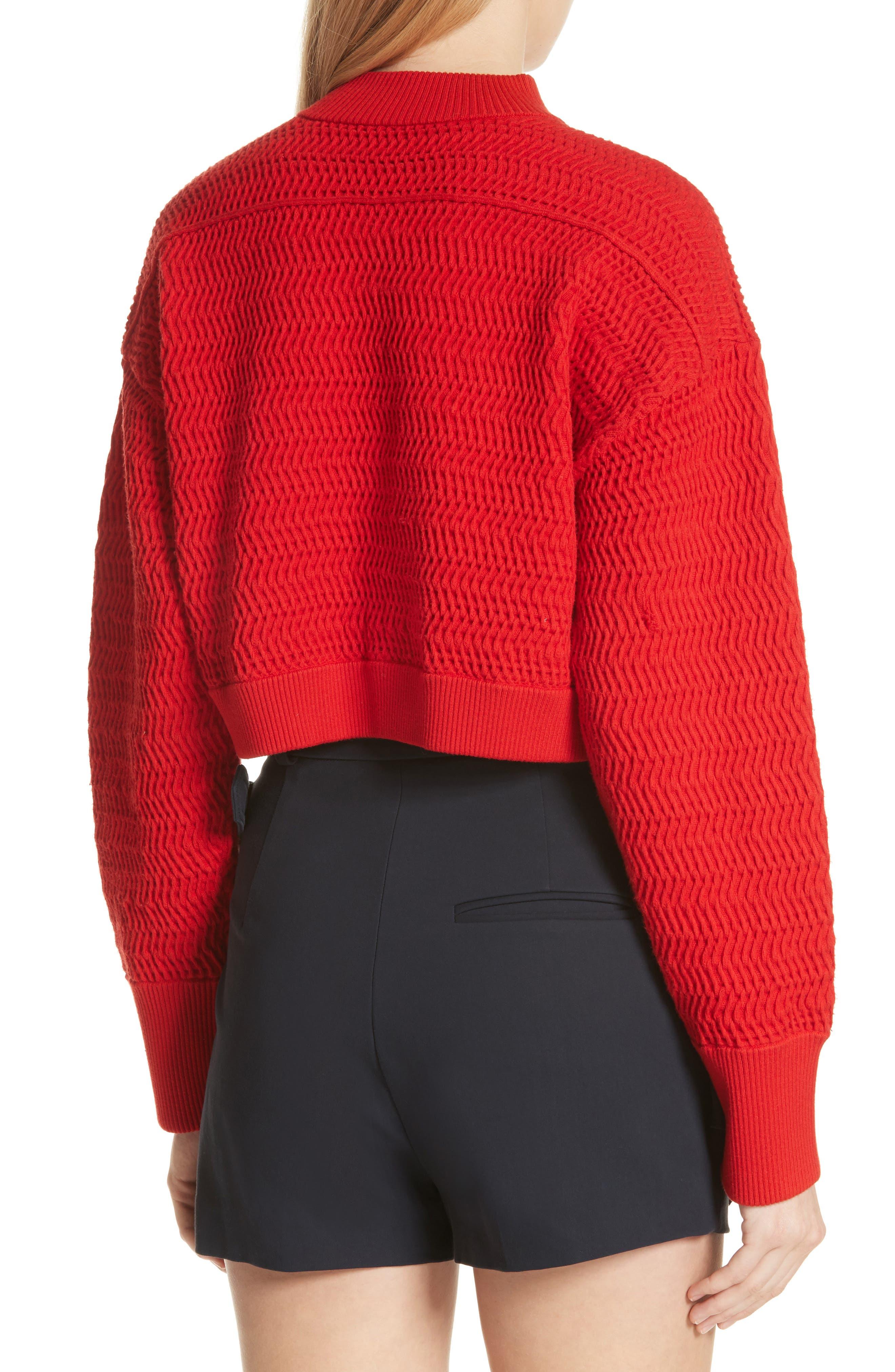 Faux Plait Silk Blend Crop Sweater,                             Alternate thumbnail 2, color,                             620