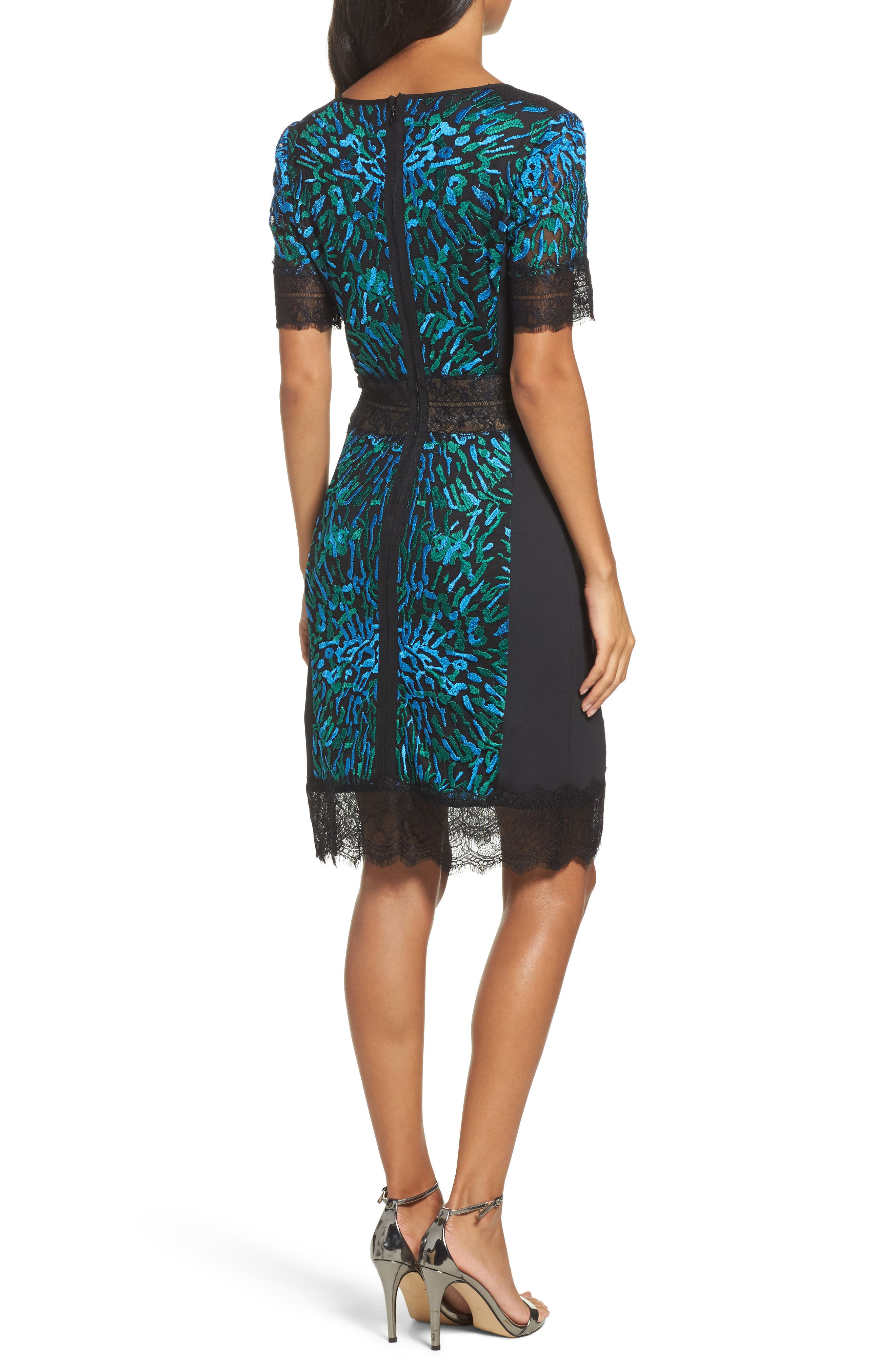 Illusion Lace & Embroidered Mesh Sheath Dress,                             Alternate thumbnail 2, color,                             424