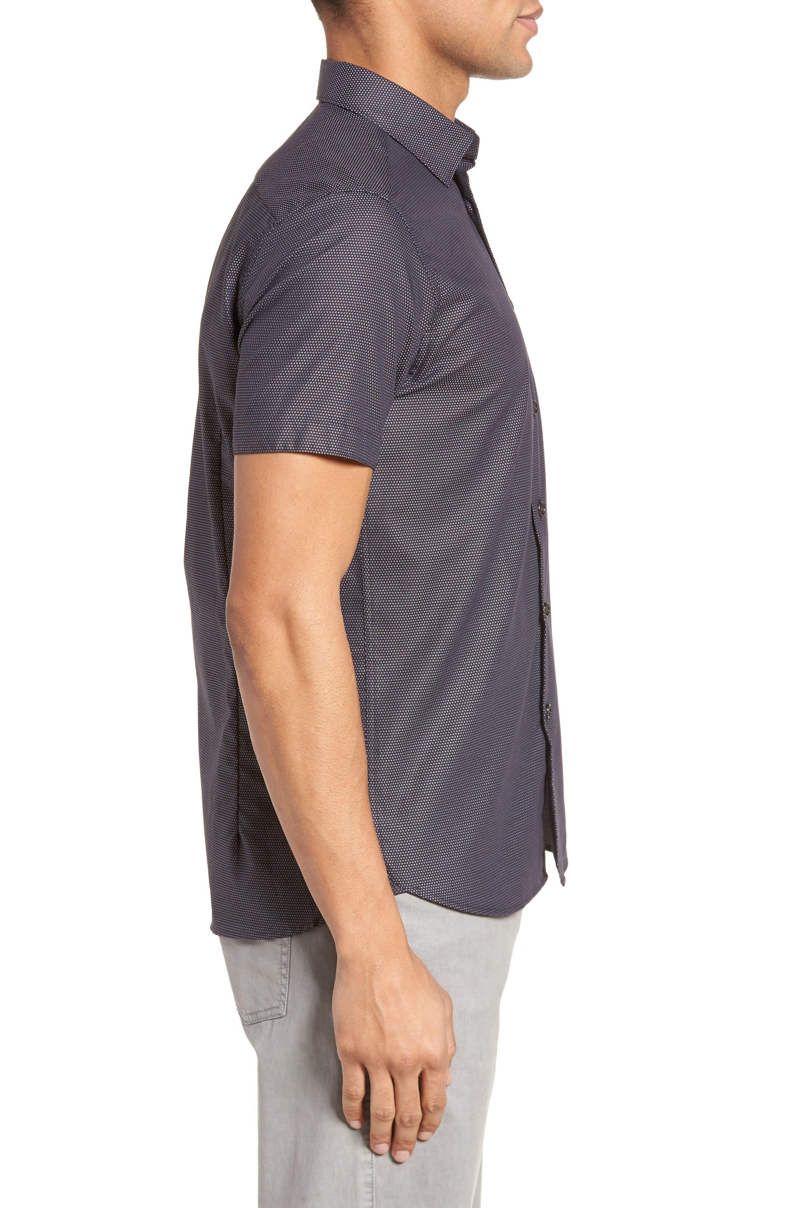 Dotdots Trim Fit Dot Short Sleeve Sport Shirt,                             Alternate thumbnail 3, color,                             001