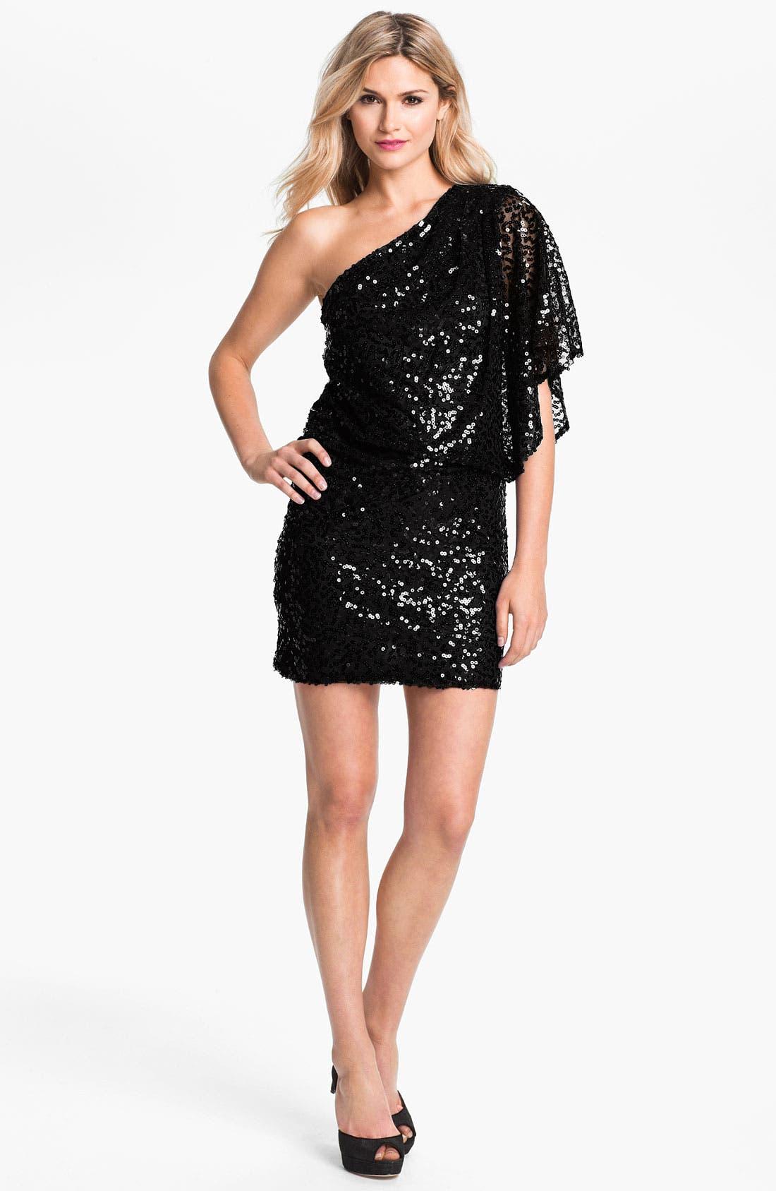 One Sleeve Sequin Blouson Dress, Main, color, 001