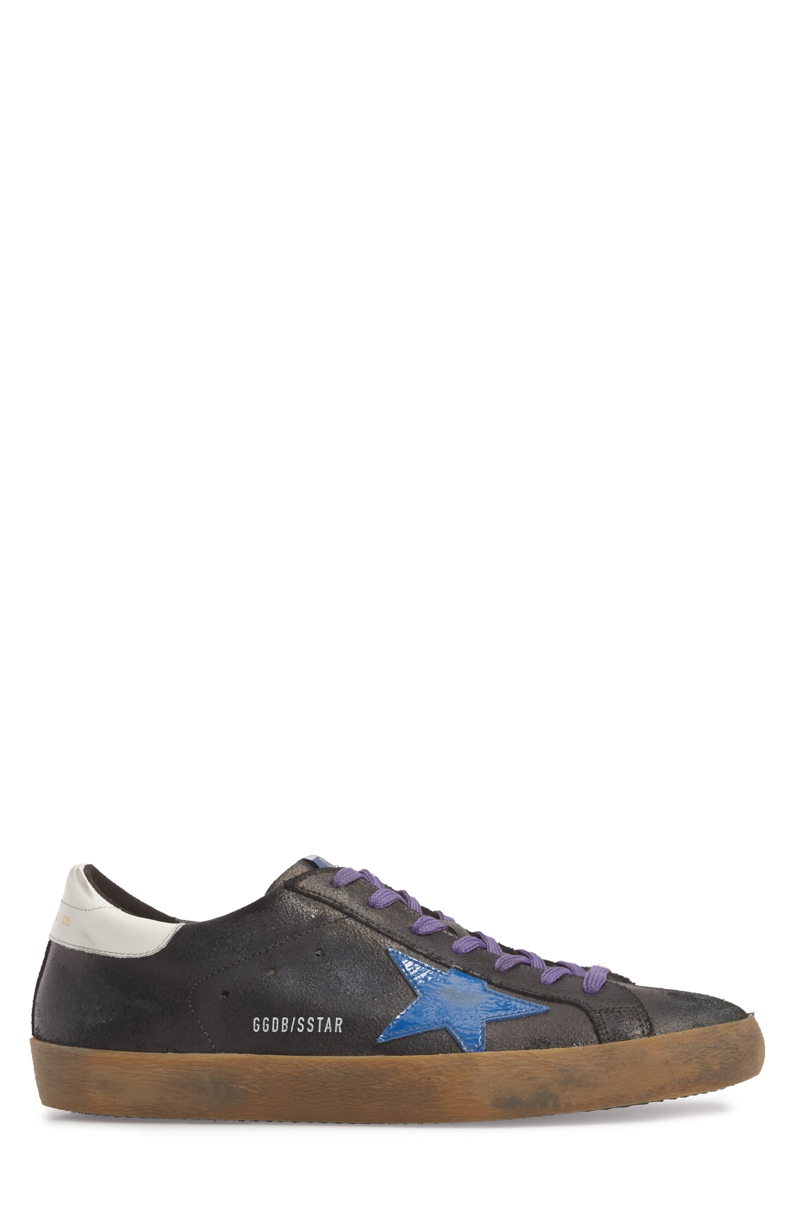 'Superstar' Sneaker,                             Alternate thumbnail 3, color,                             BLACK CRACK-BLUE STAR