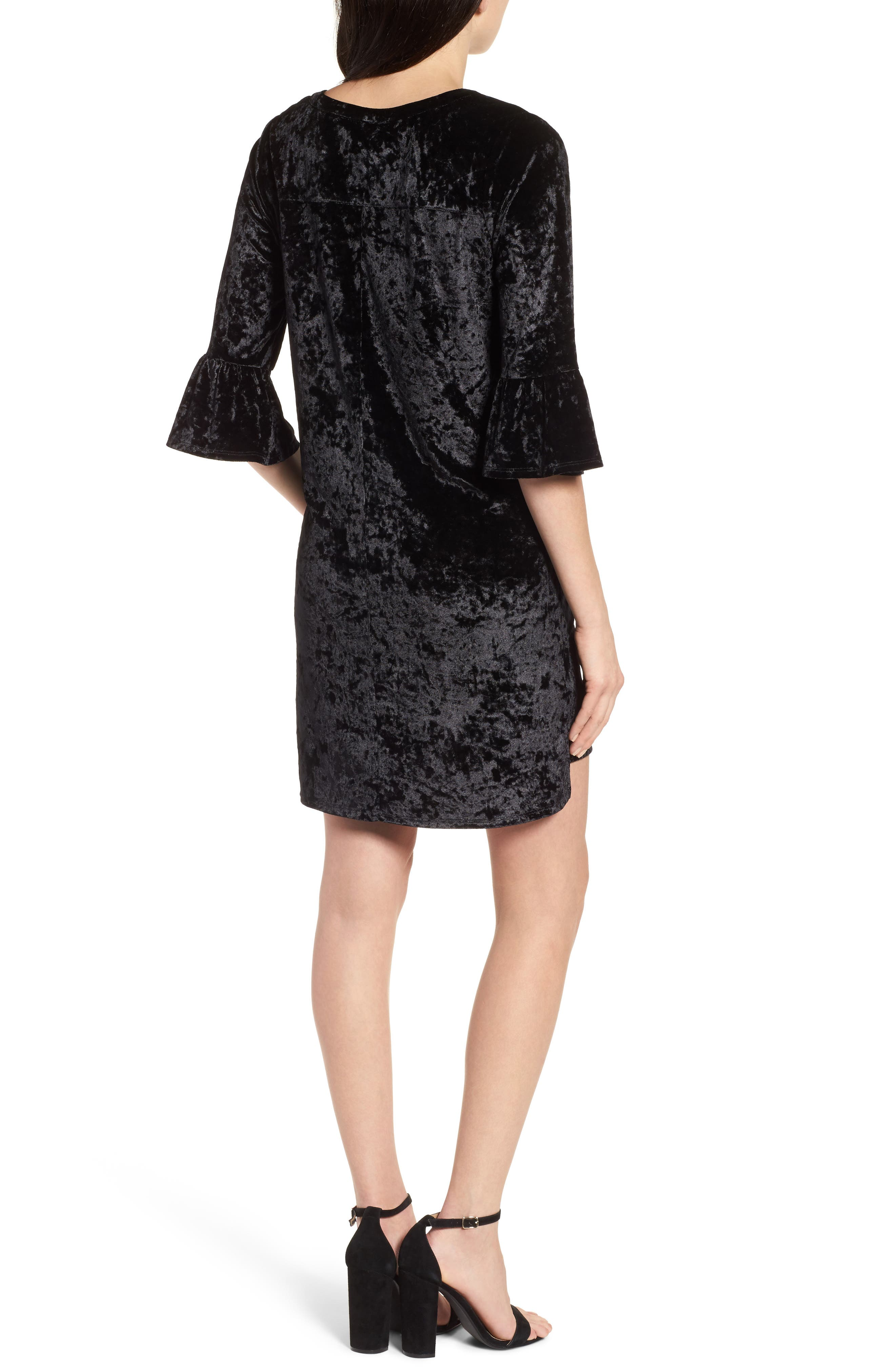 Velvet Keyhole A-Line Dress,                             Alternate thumbnail 2, color,