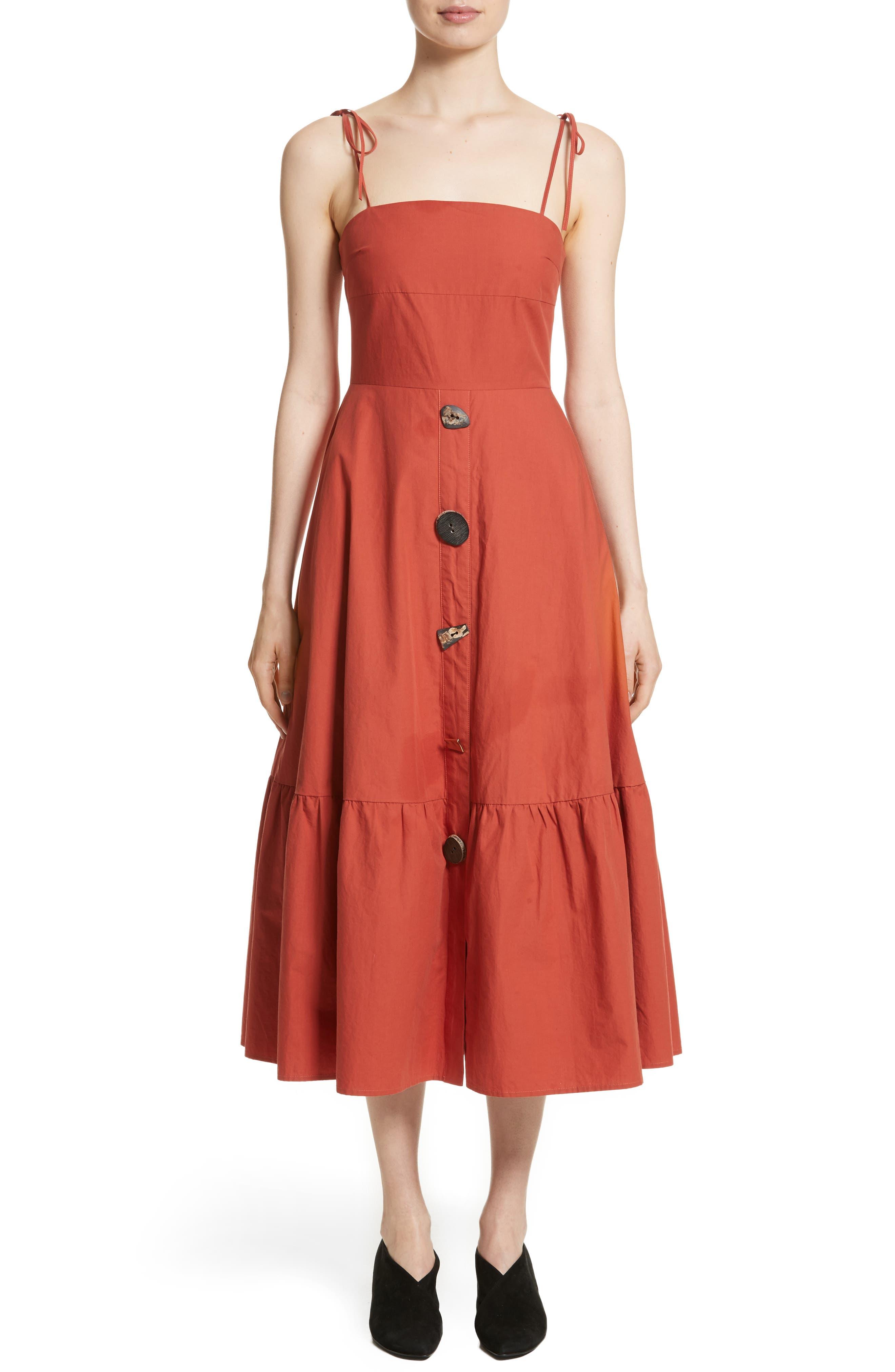 Maria Ruffle Hem Poplin Midi Dress,                             Main thumbnail 1, color,