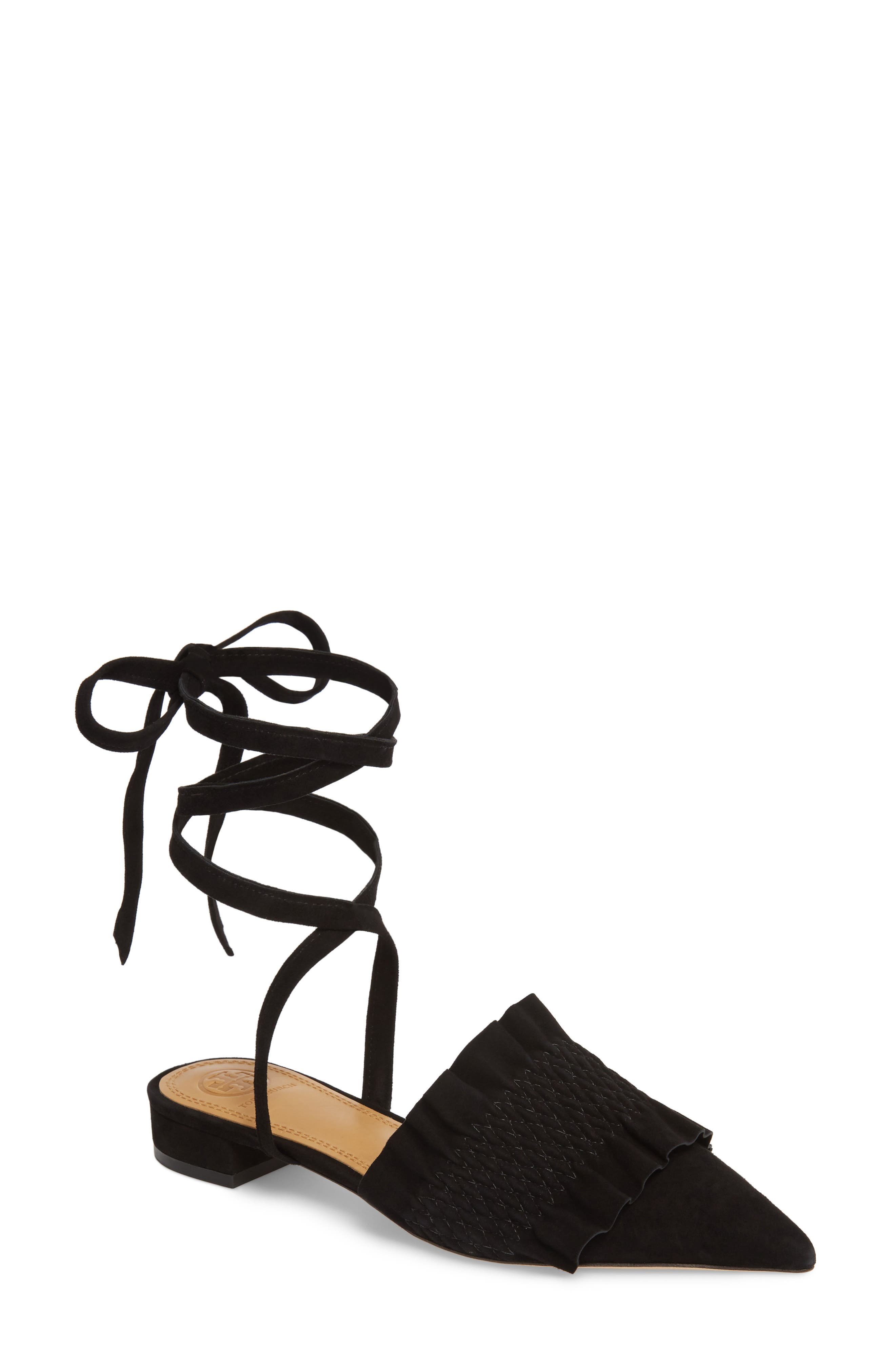 Angelica Ankle Wrap Mule,                             Main thumbnail 1, color,                             PERFECT BLACK/ PERFECT BLACK