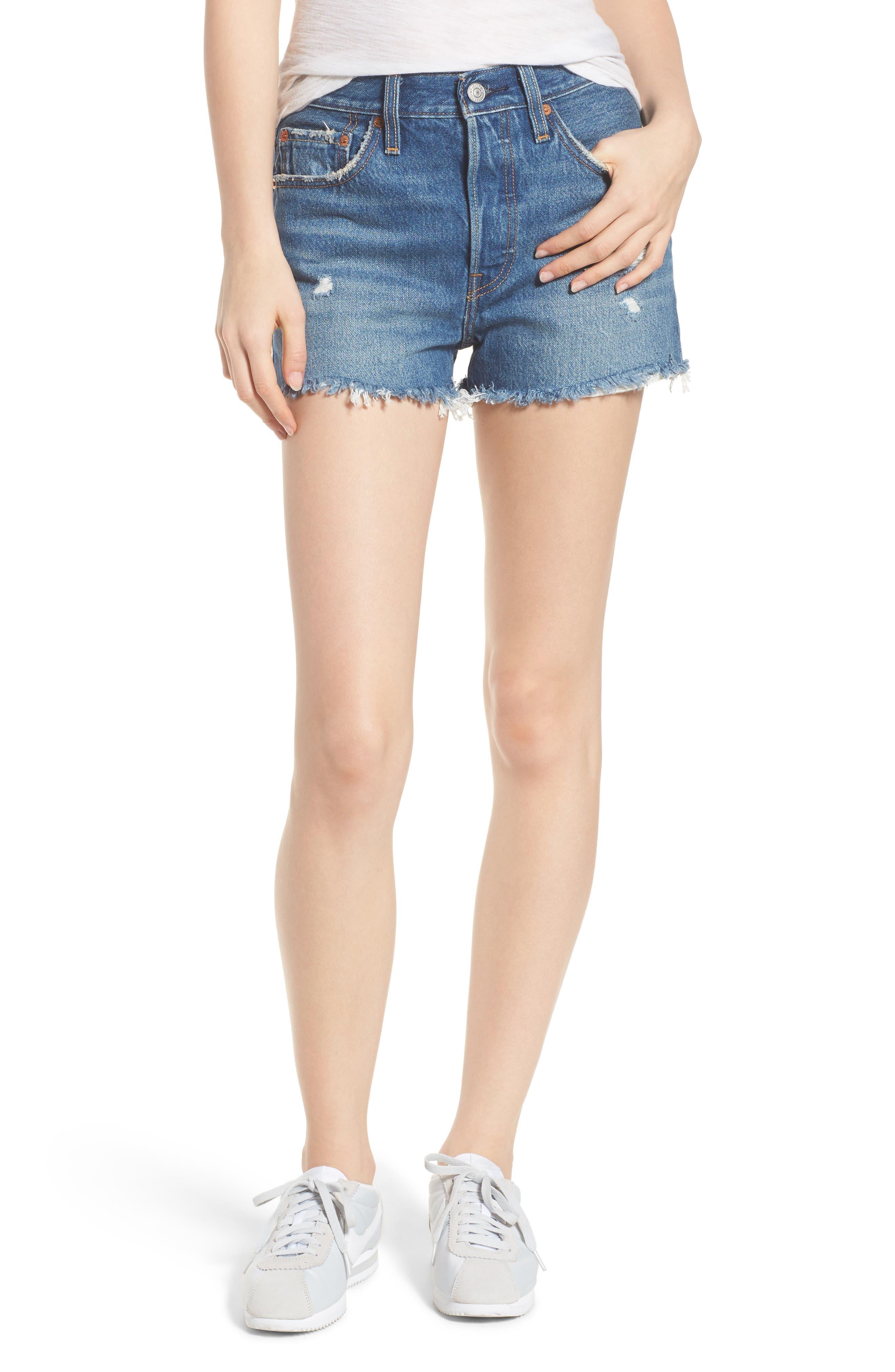 501<sup>®</sup> High Waist Cutoff Denim Shorts,                         Main,                         color, 401
