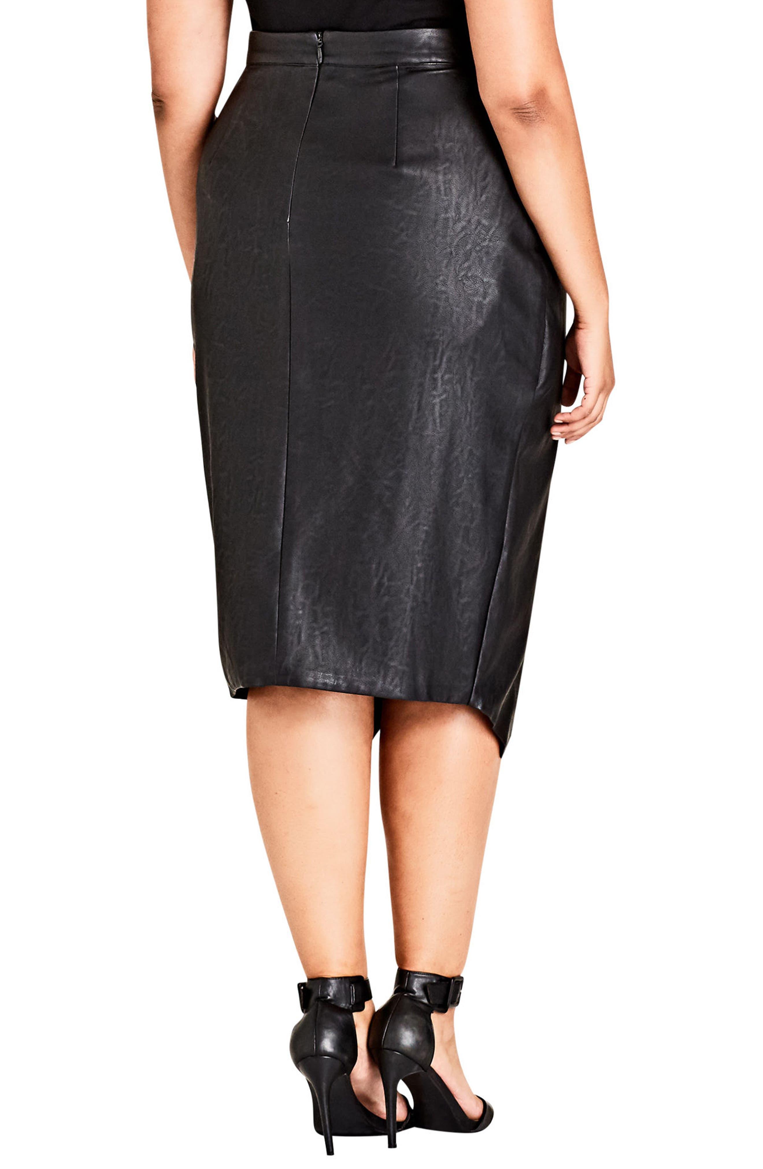 Faux Leather Skirt,                             Alternate thumbnail 2, color,                             001