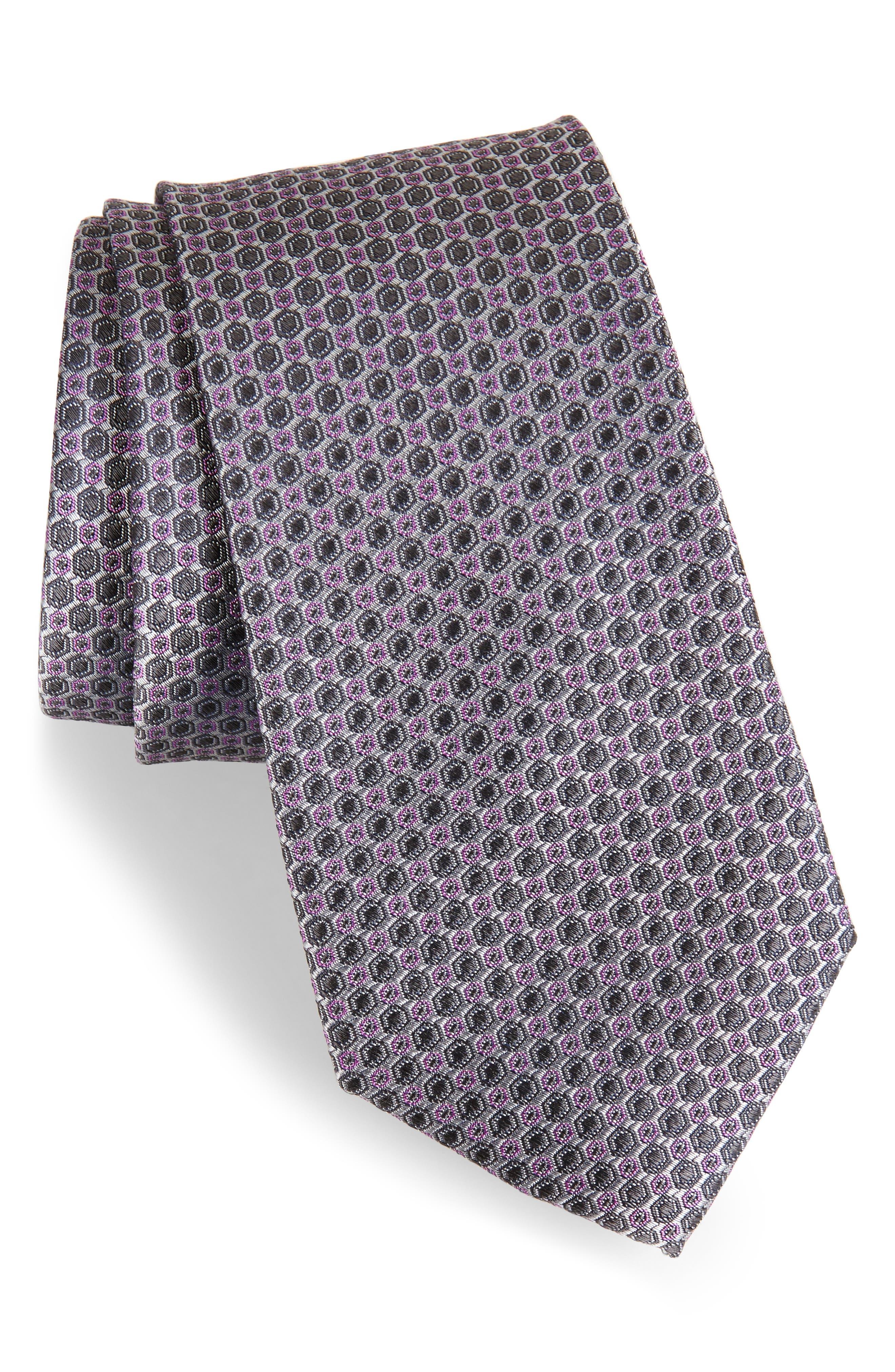 Optical Dot Silk Tie,                         Main,                         color,