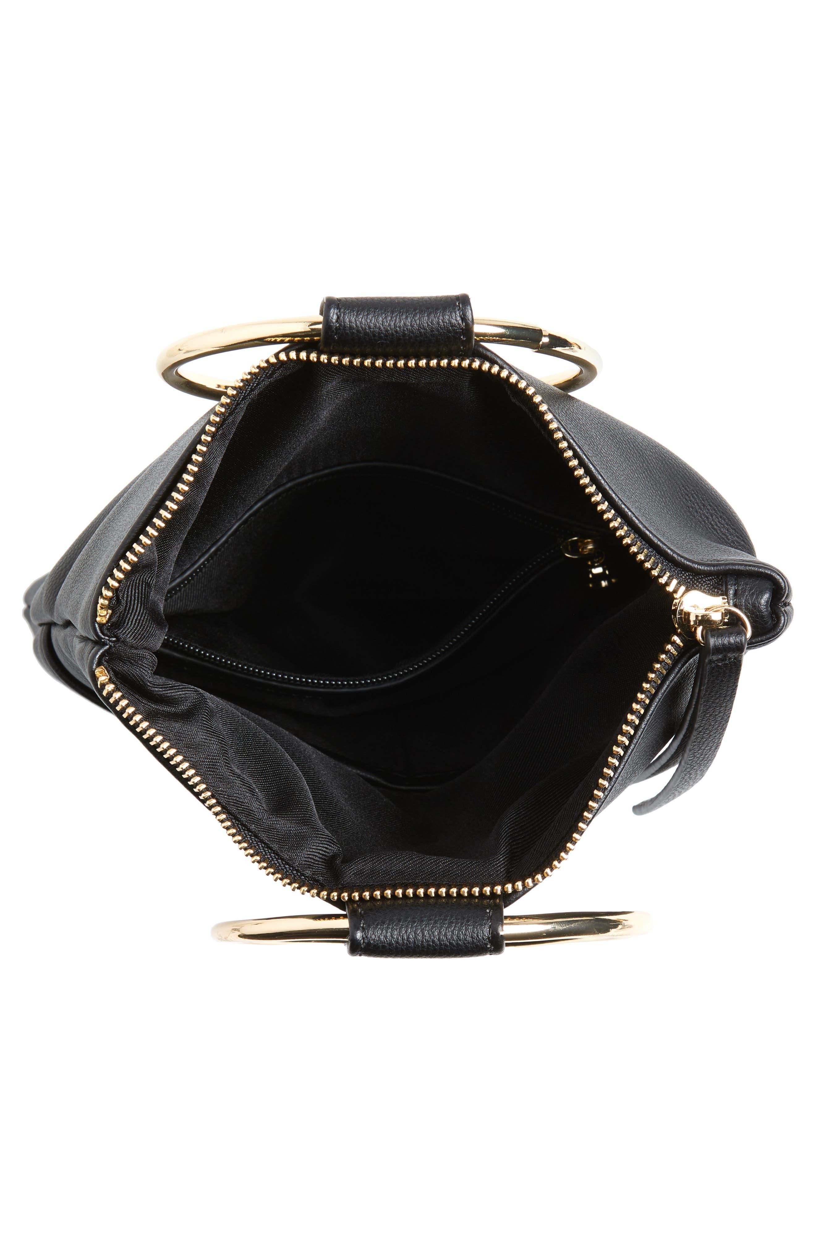 Skyler Faux Leather Foldover Clutch,                             Alternate thumbnail 4, color,                             BLACK