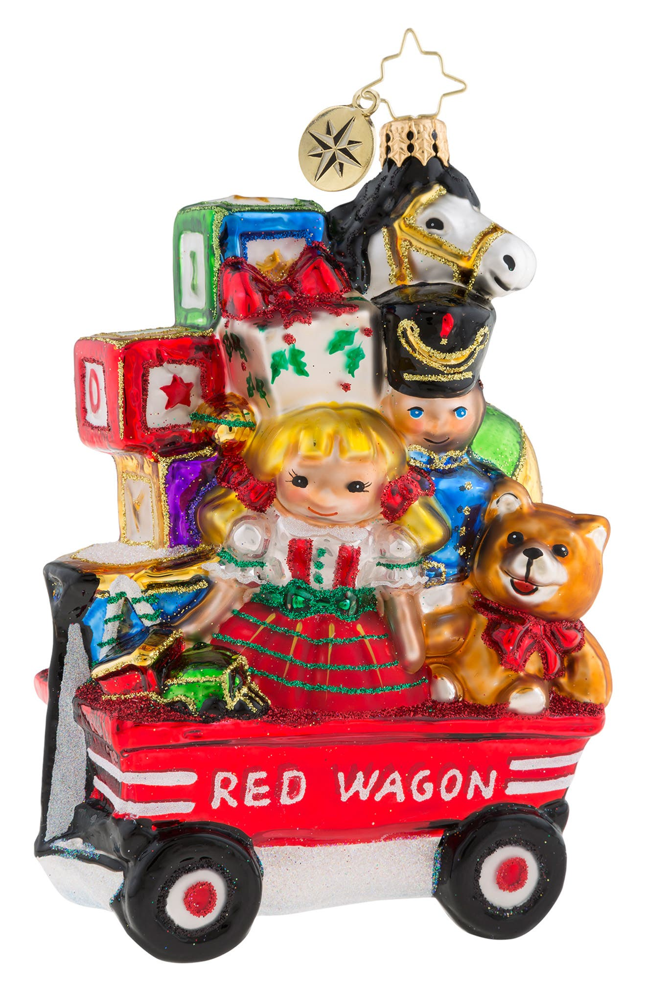 My Little Red Wagon Ornament,                             Main thumbnail 1, color,                             RED MULTI