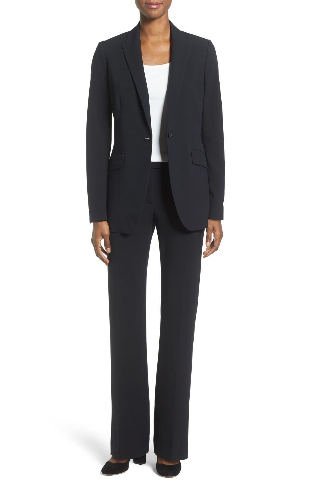 Long Boyfriend Suit Jacket,                             Alternate thumbnail 2, color,                             ANNE KLEIN BLACK