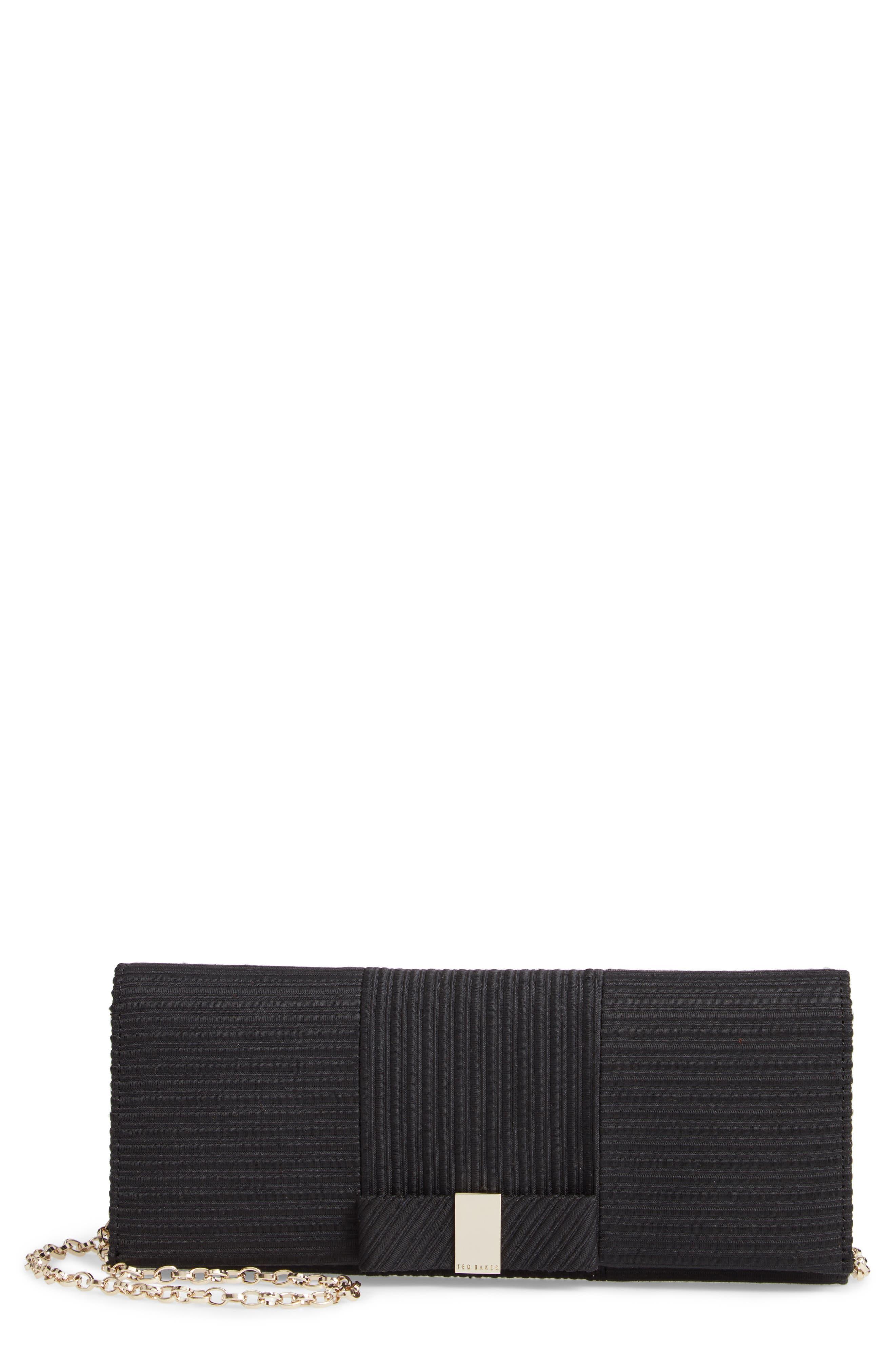Emilee Bow Evening Bag,                             Main thumbnail 1, color,                             BLACK