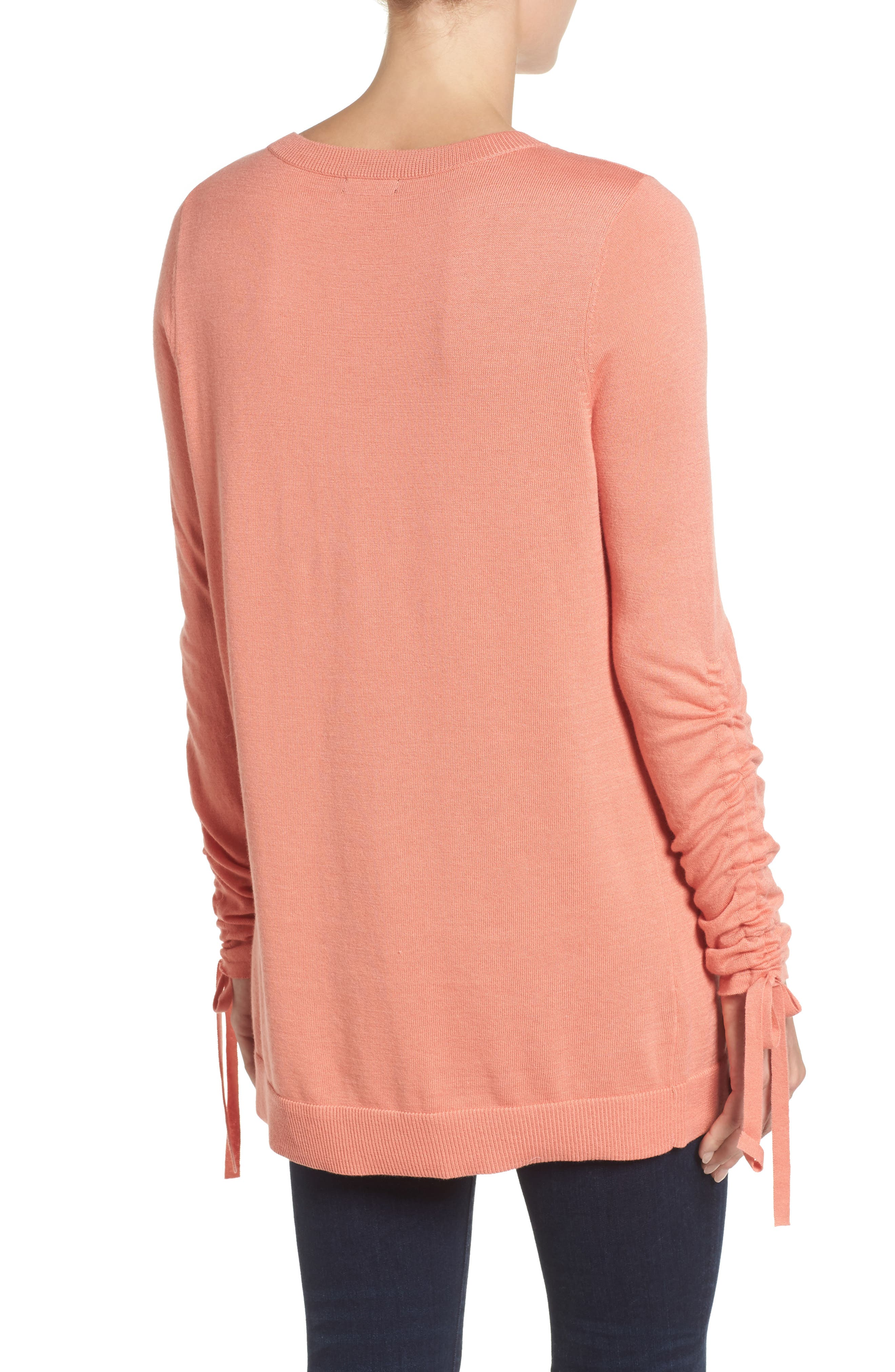 Ruched Sleeve Tunic Sweater,                             Alternate thumbnail 10, color,