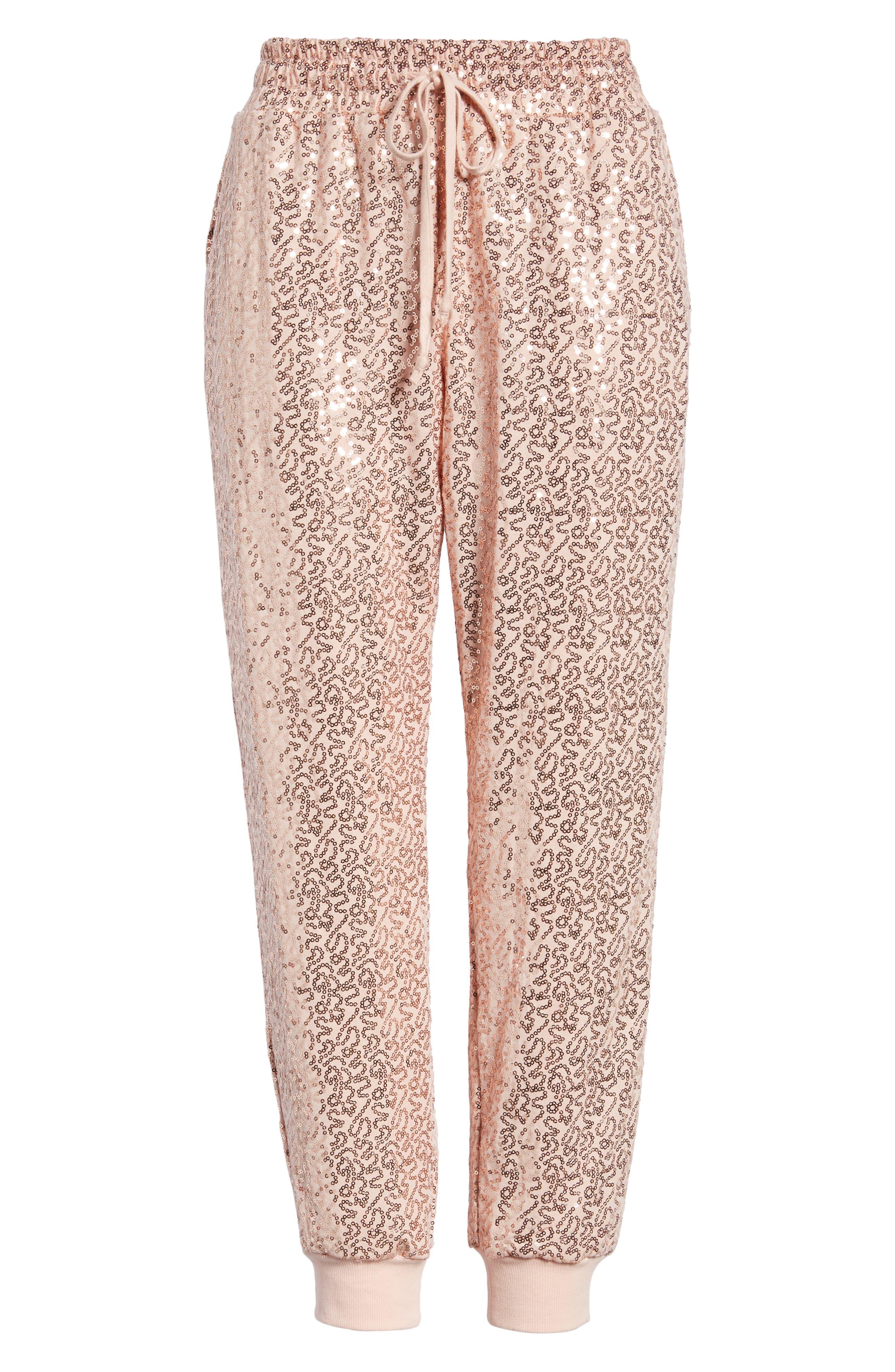 x Glam Squad Ashley Sequin Jogger Pants,                             Alternate thumbnail 7, color,                             ROSE GOLD
