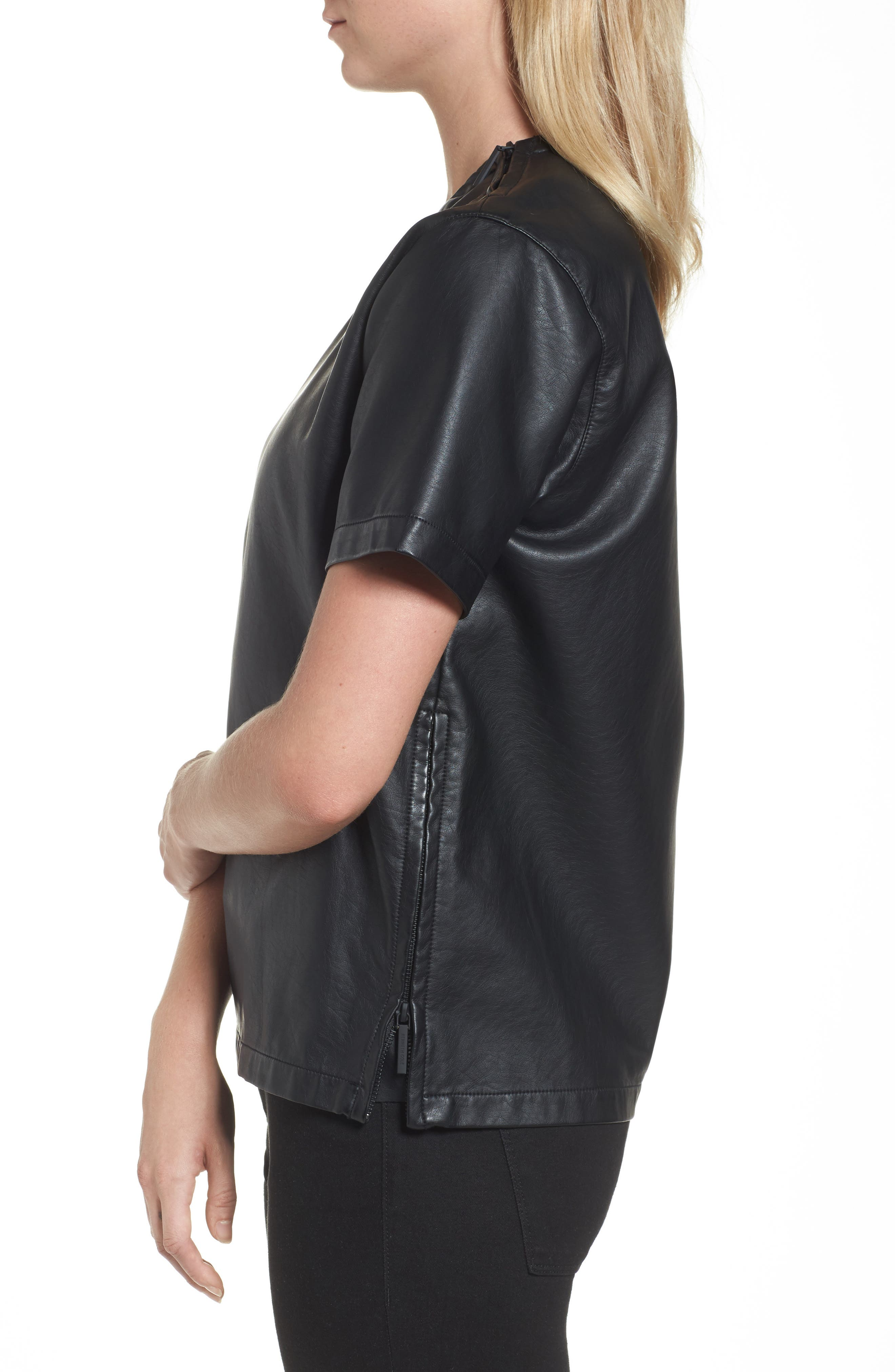 Faux Leather Tee,                             Alternate thumbnail 3, color,