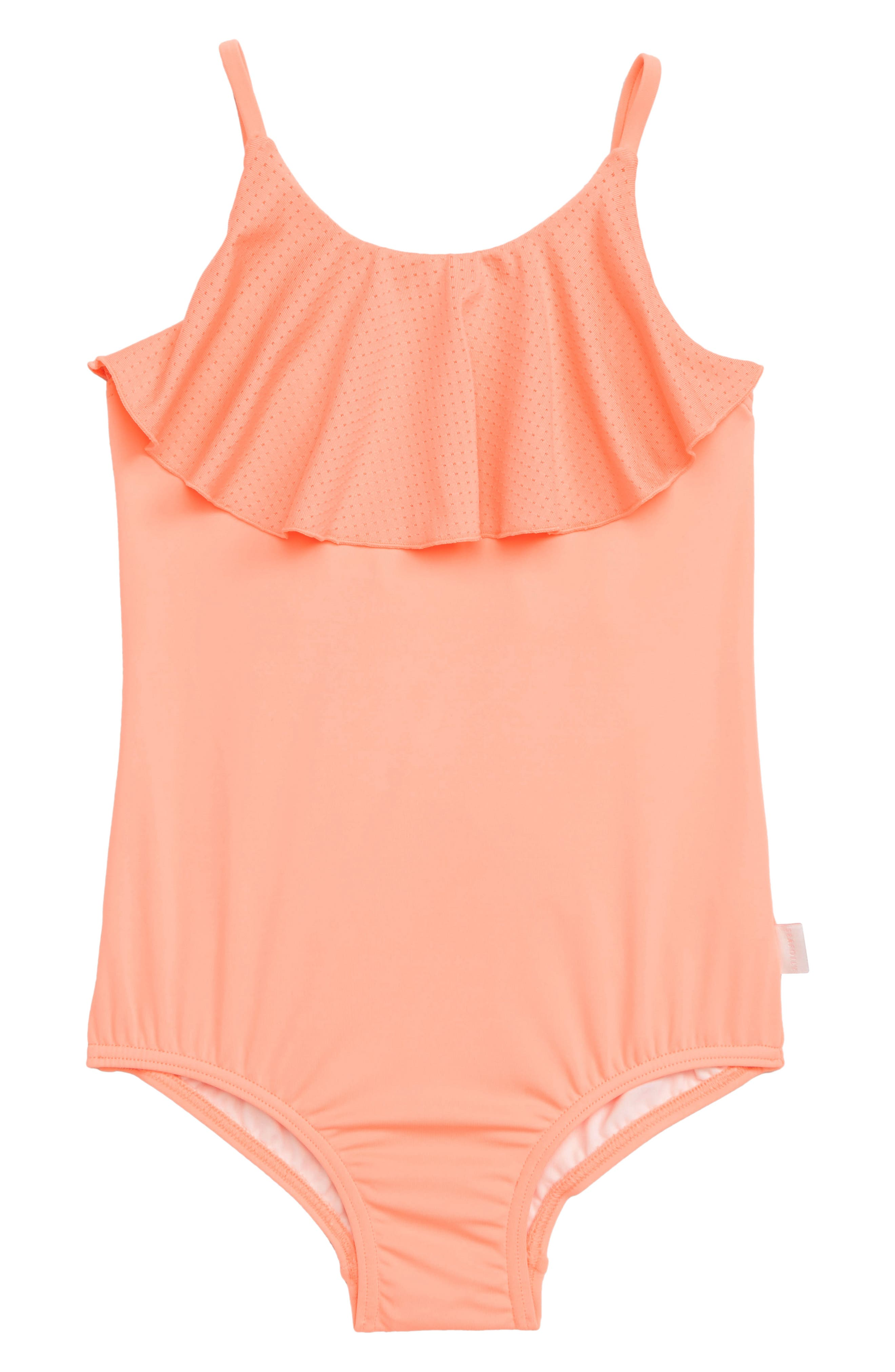 Sweet Ruffles One-Piece Swimsuit,                             Main thumbnail 1, color,                             PEACH PEARL