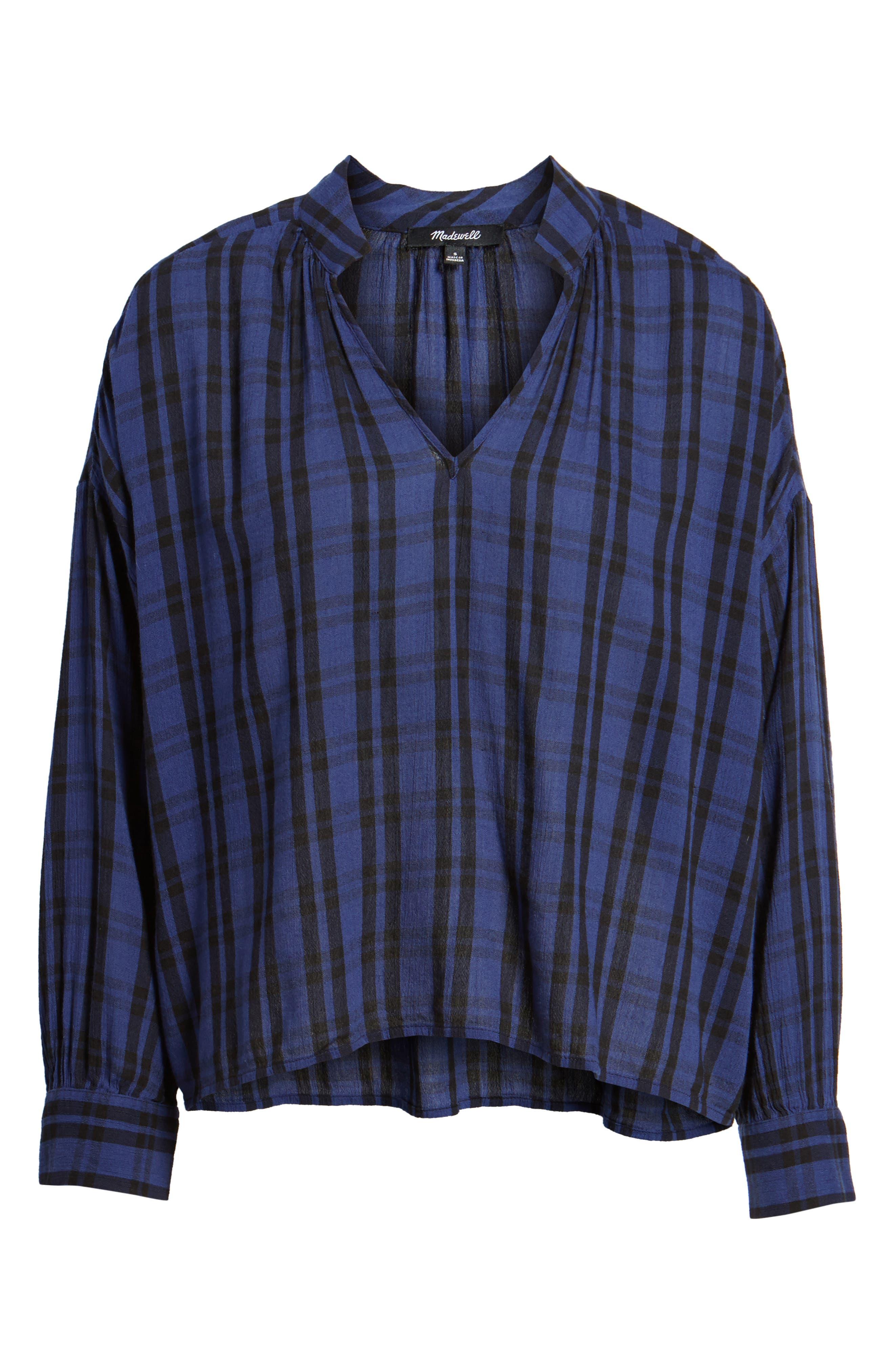 Plaid Shirred Neck Shirt,                             Alternate thumbnail 6, color,