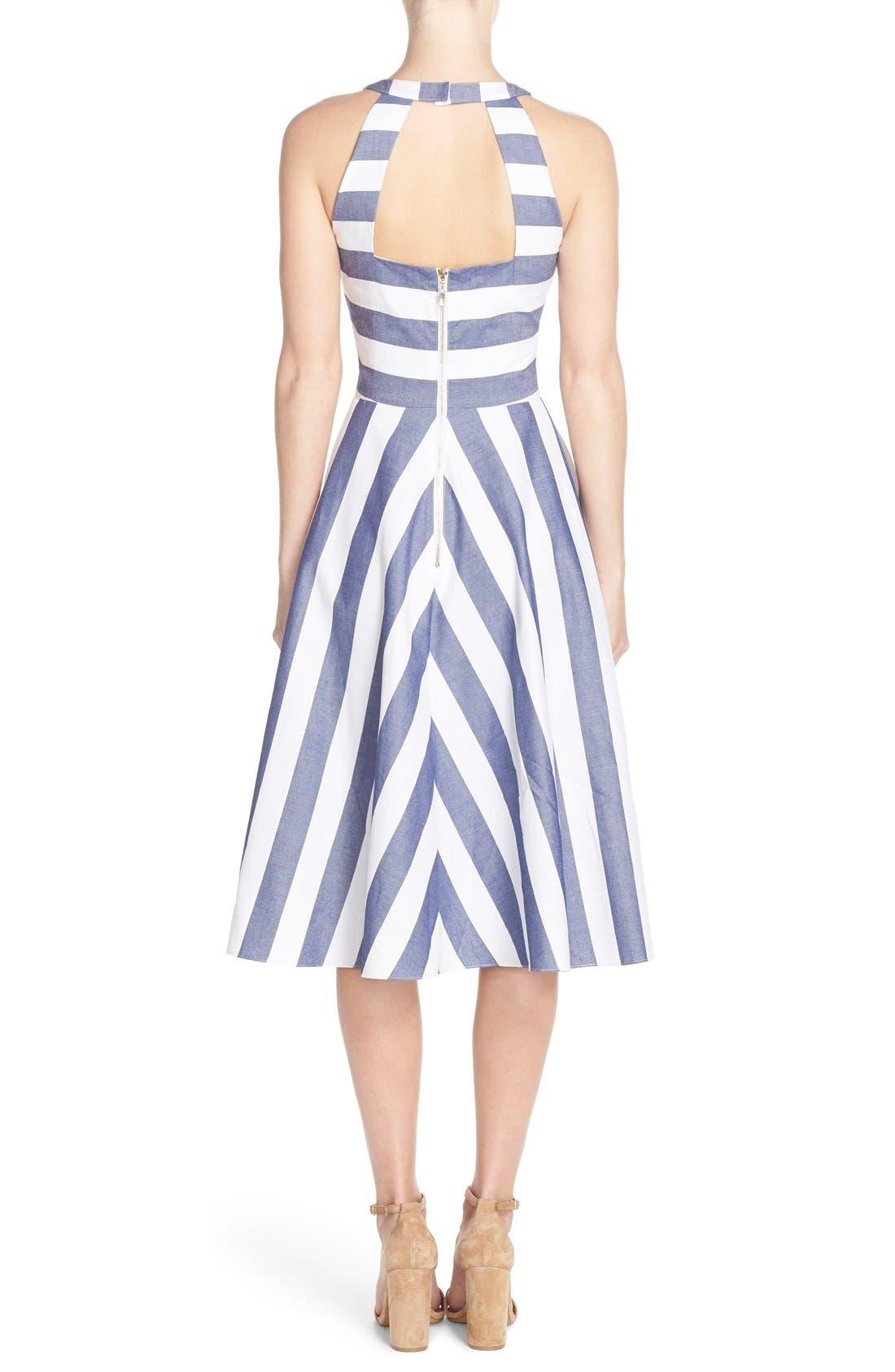 Cotton Fit & Flare Dress,                             Alternate thumbnail 4, color,                             BLUE/ IVORY