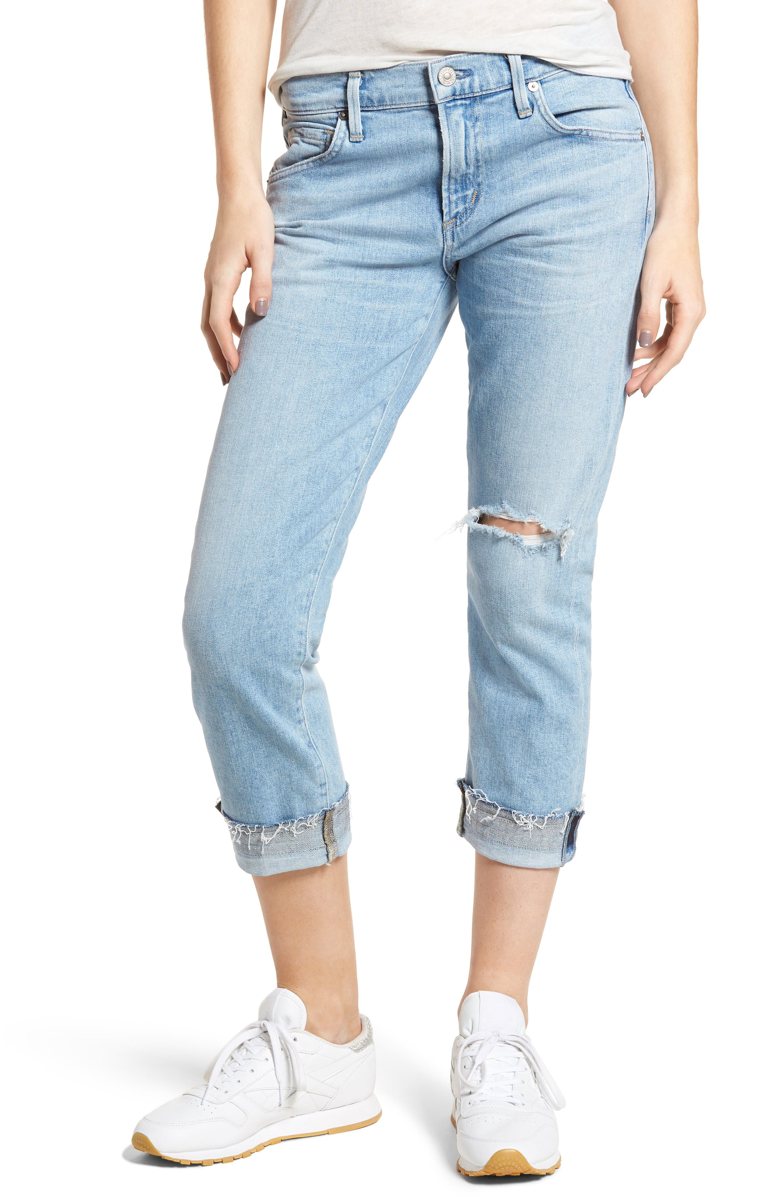 CITIZENS OF HUMANITY Emerson Ripped Crop Slim Boyfriend Jeans, Main, color, 455