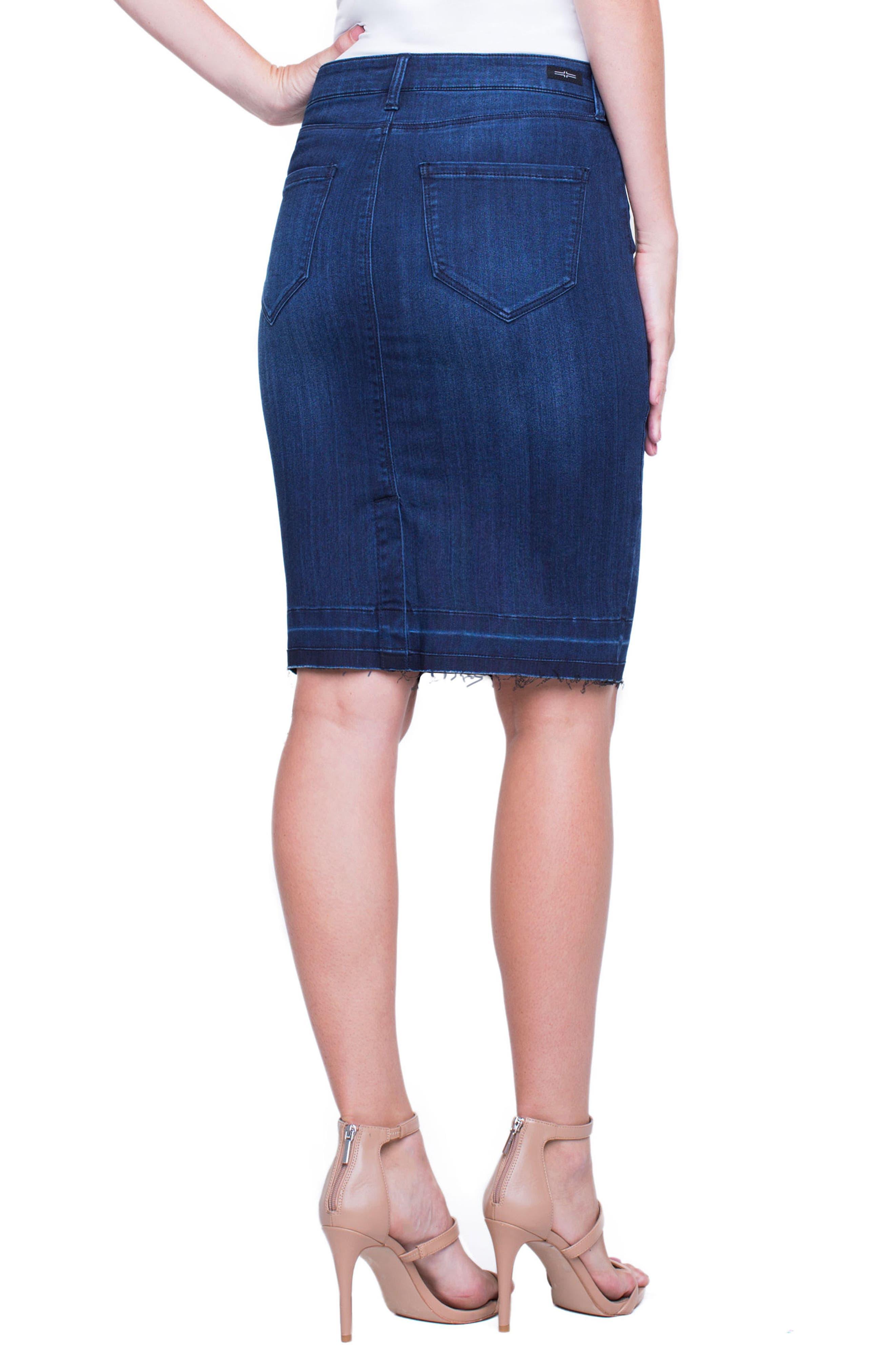 Denim Pencil Skirt,                             Alternate thumbnail 5, color,                             404