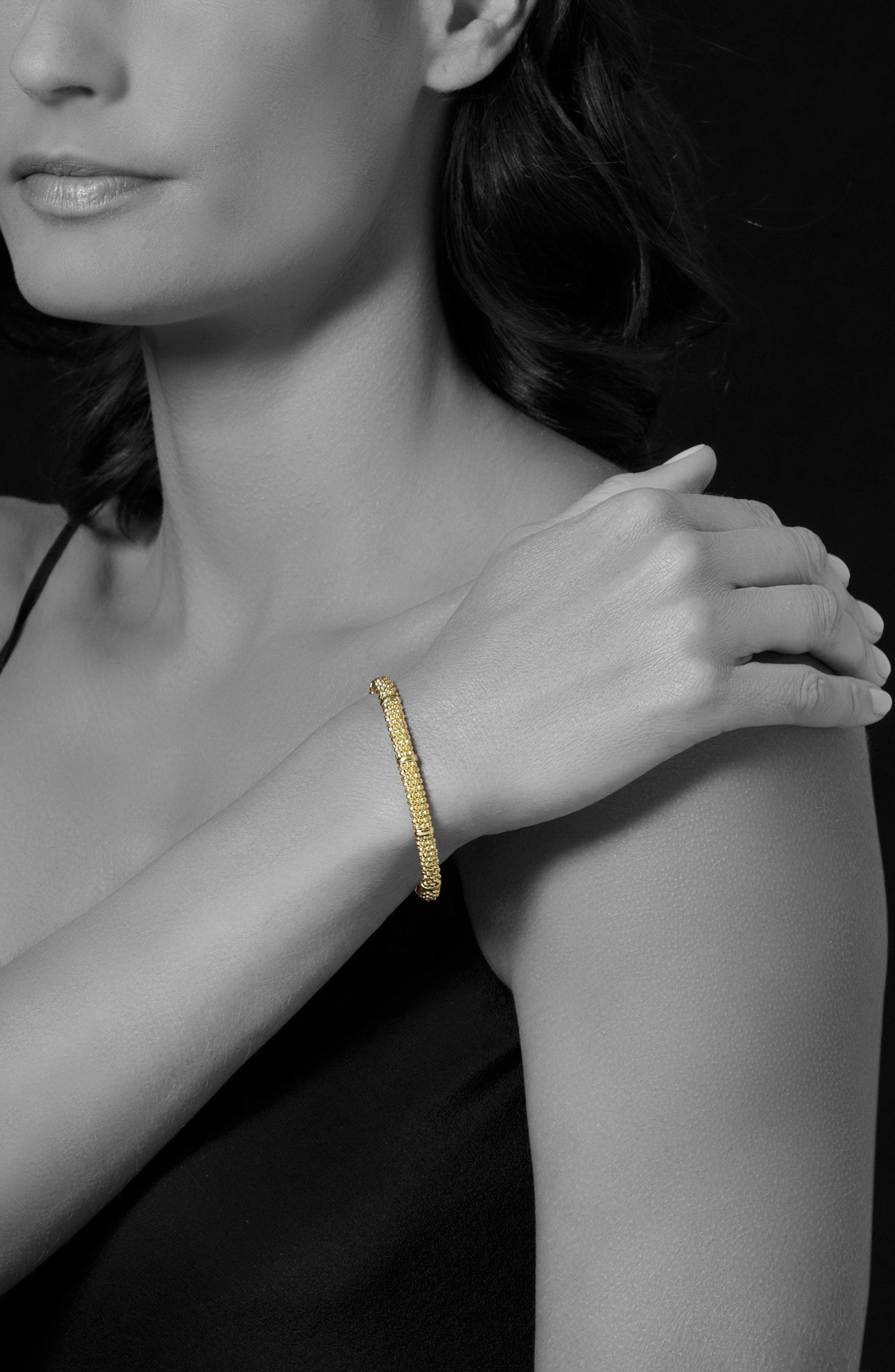 Caviar Rope Bracelet,                             Alternate thumbnail 3, color,                             GOLD