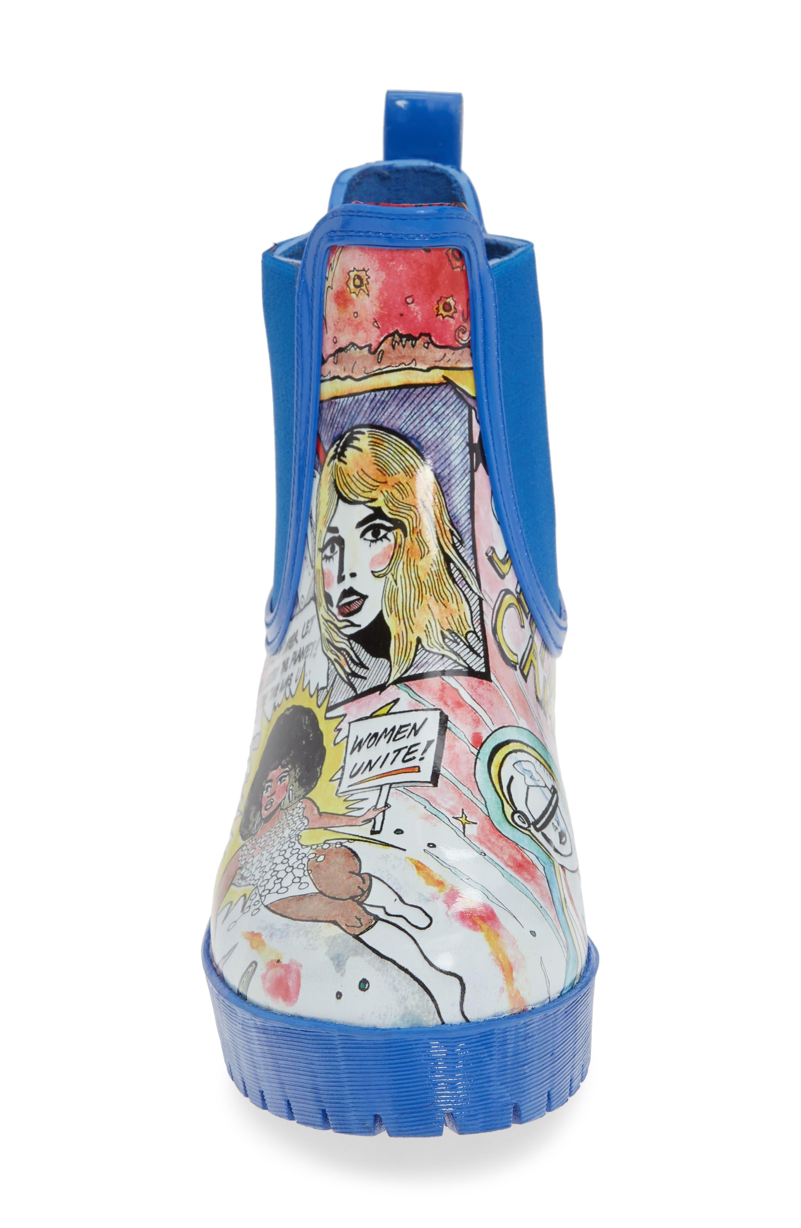 Cloudy Chelsea Rain Boot,                             Alternate thumbnail 4, color,                             COMIC PRINT