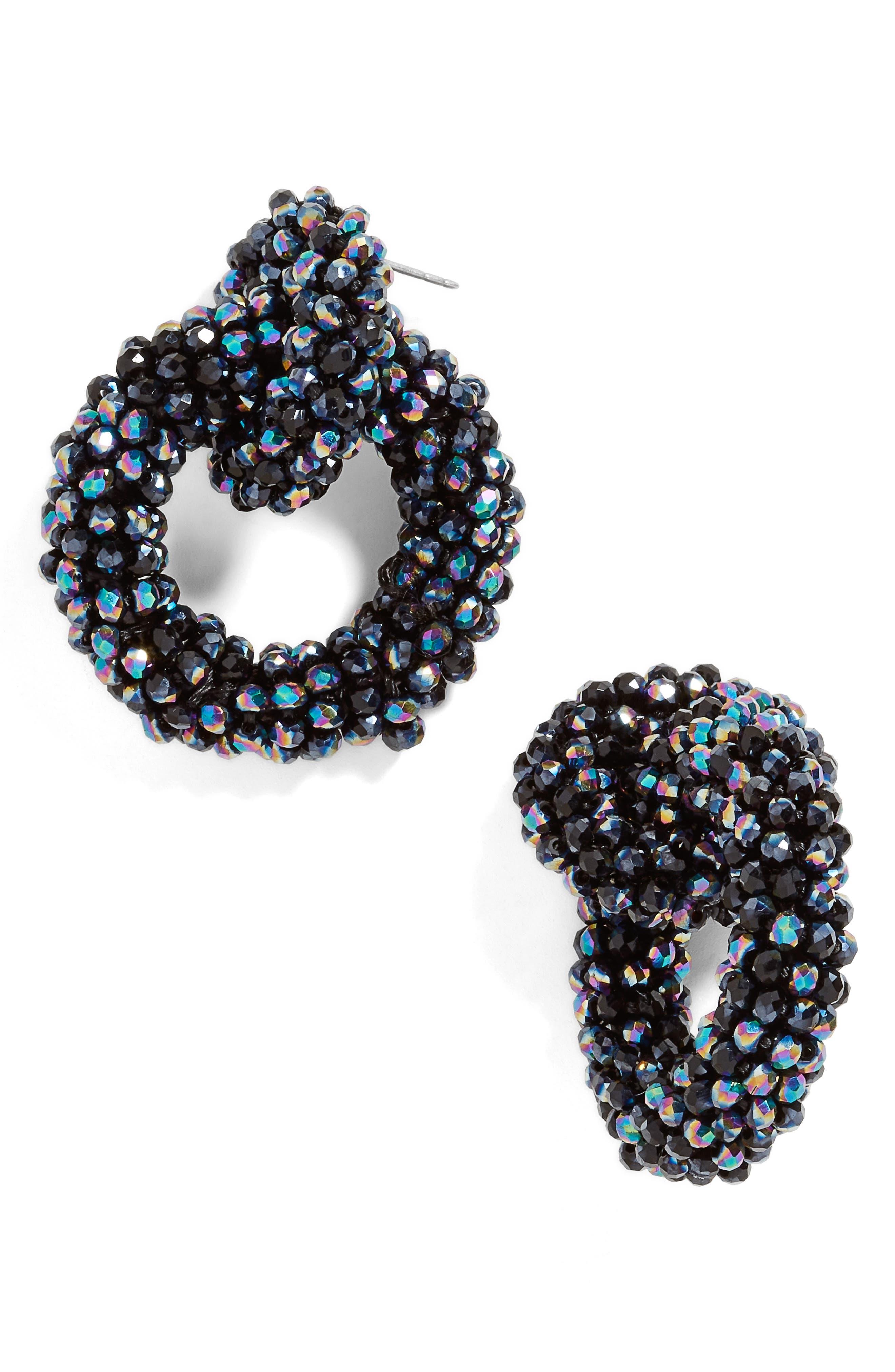 Emina Beaded Hoop Earrings, Main, color, 400