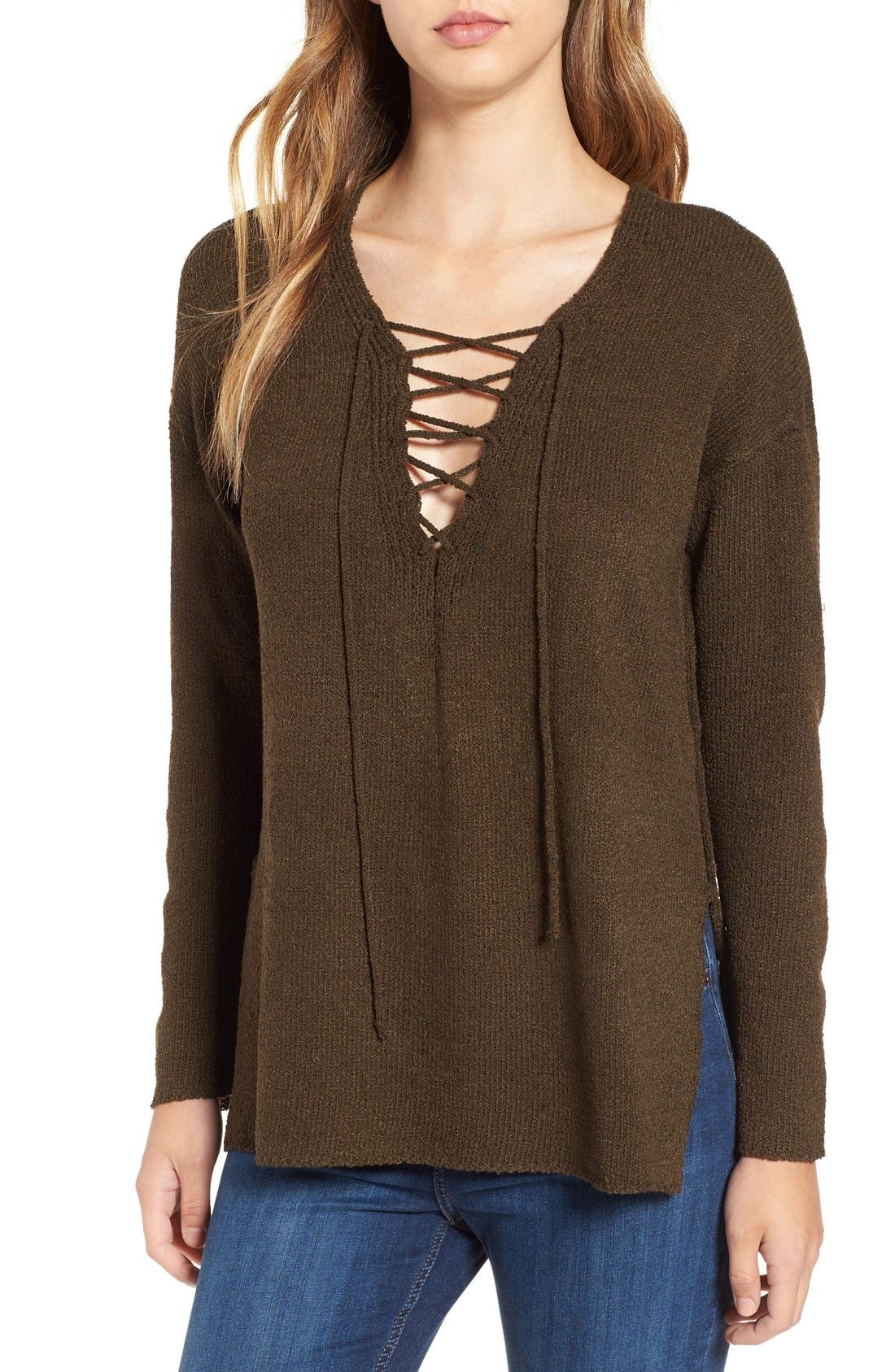 ASTR Lace-Up Sweater,                             Main thumbnail 3, color,