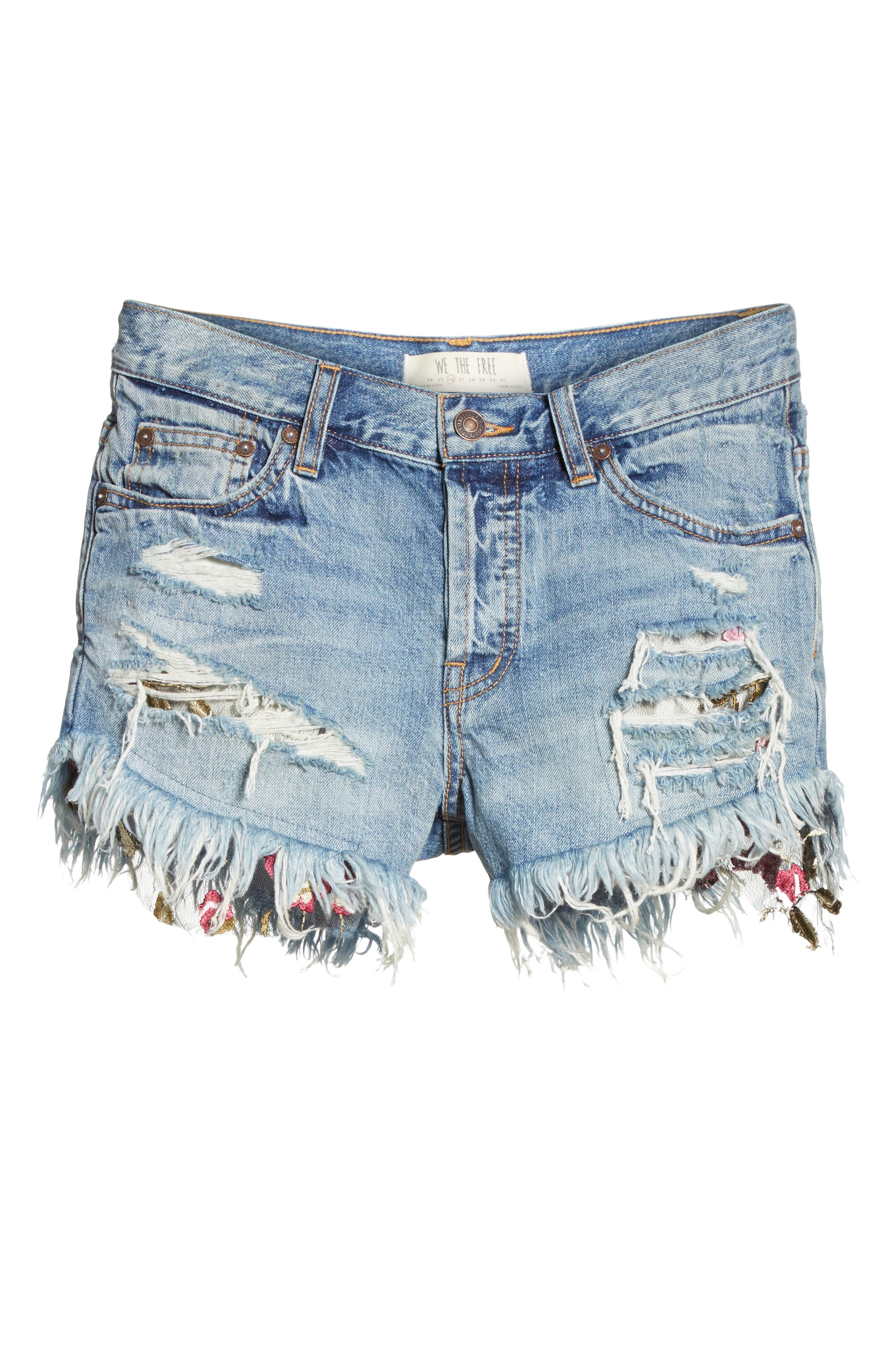 Embroidered Ripped Shorts,                             Alternate thumbnail 6, color,                             400
