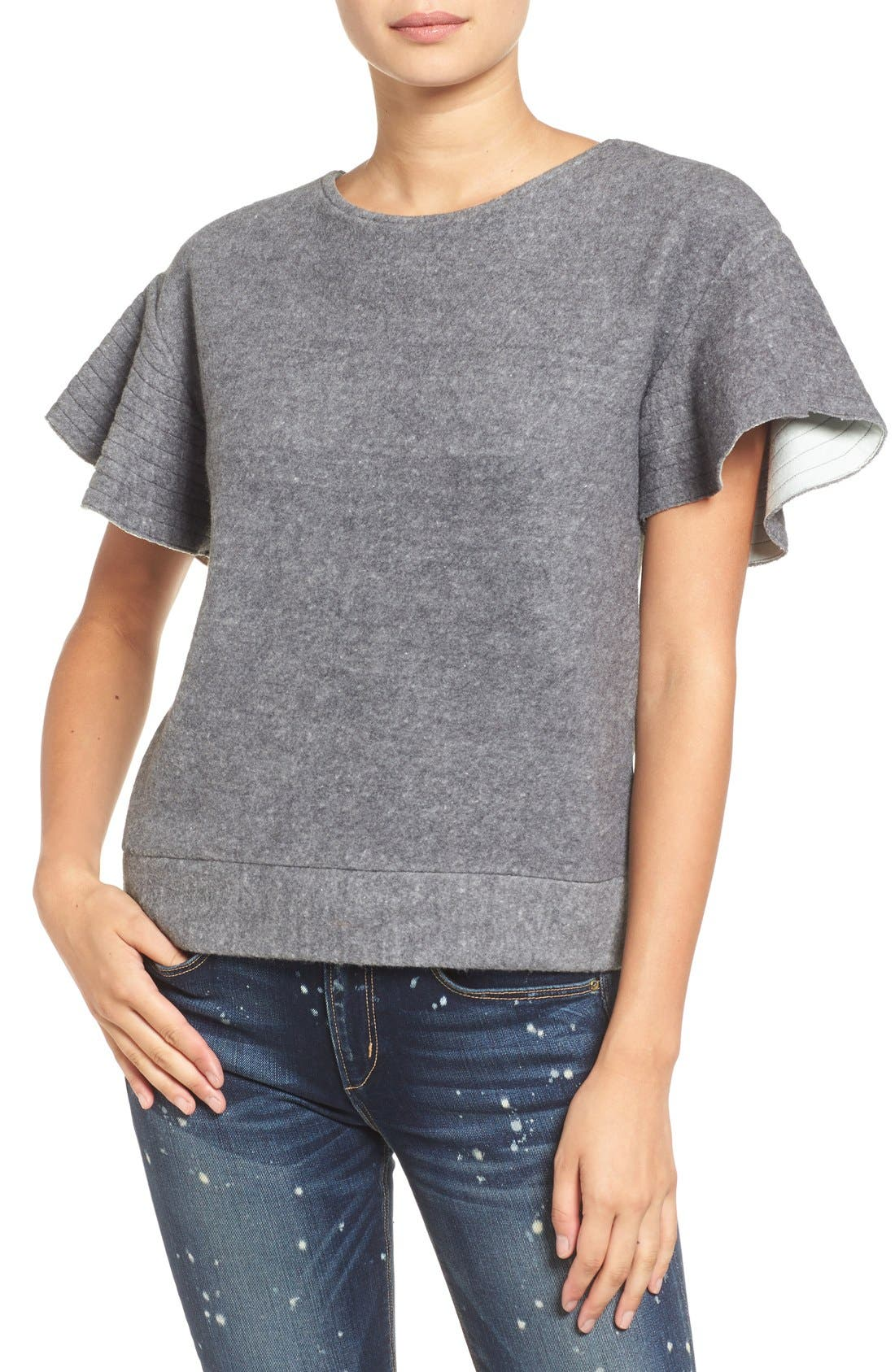 'Bella' Felted Flutter Sleeve Tee,                             Main thumbnail 1, color,                             029