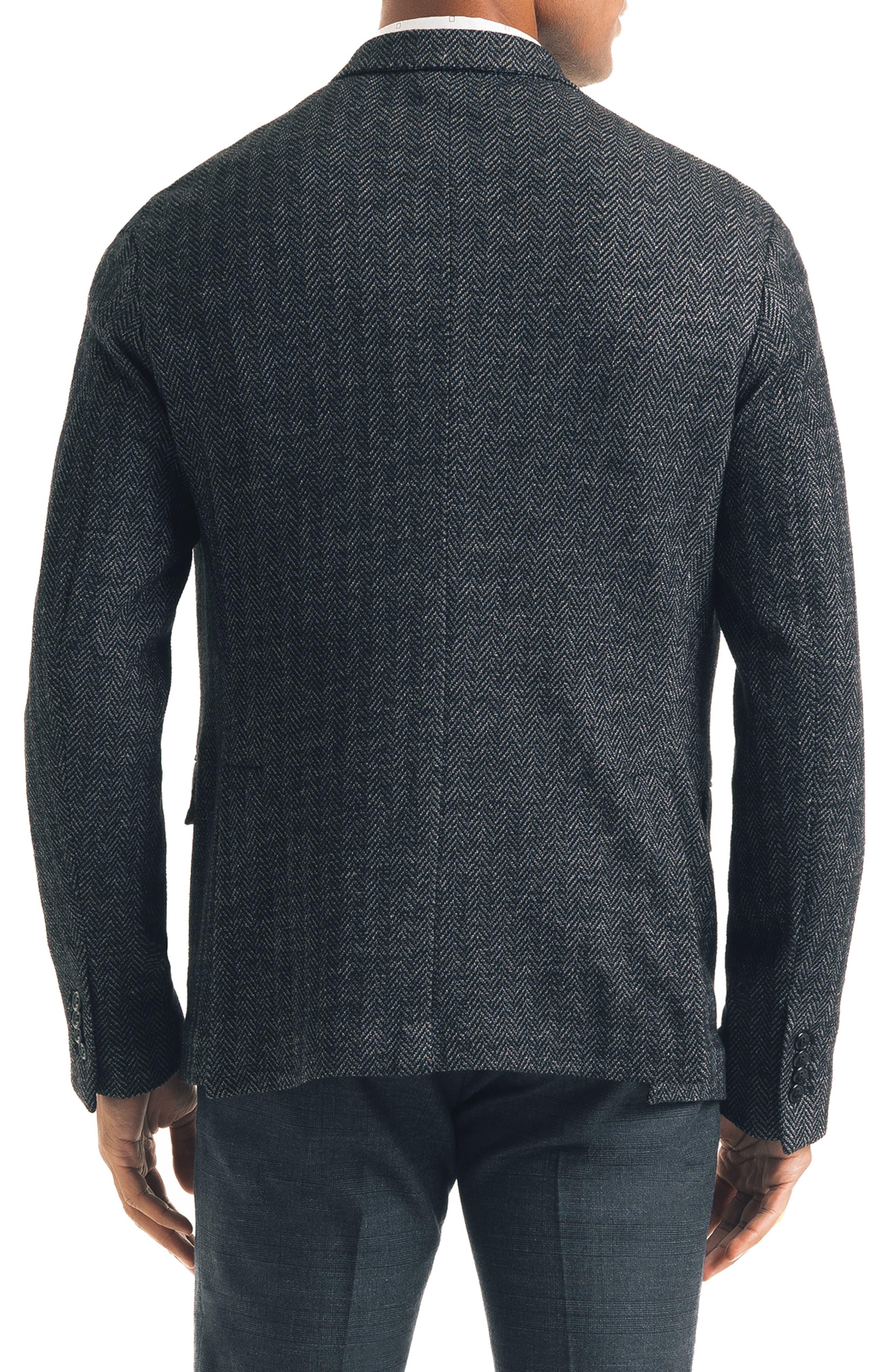 Uptown Trim Fit Herringbone Cotton Blend Sport Coat,                             Alternate thumbnail 2, color,                             BLACK
