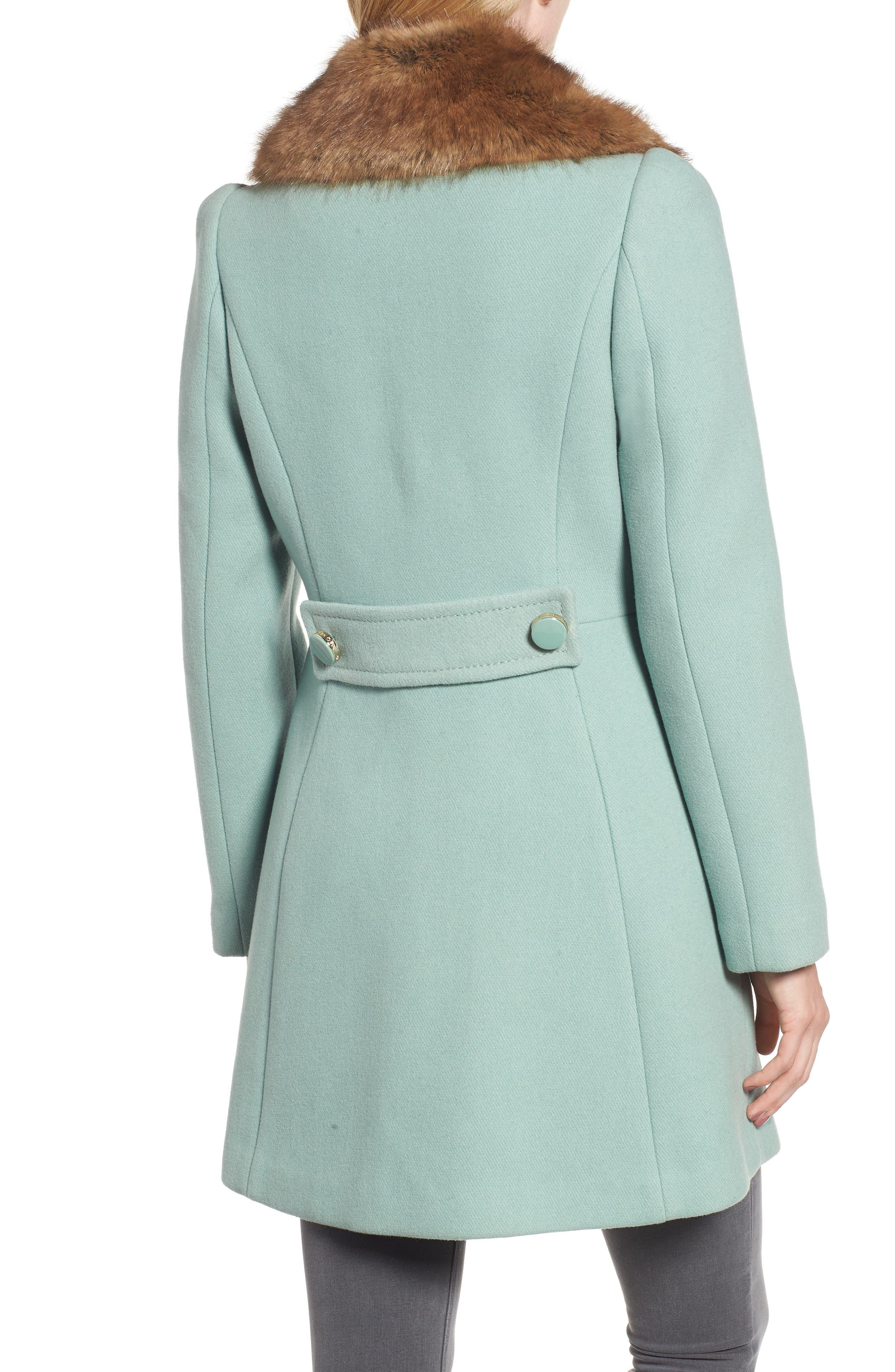 faux fur collar wool blend coat,                             Alternate thumbnail 2, color,