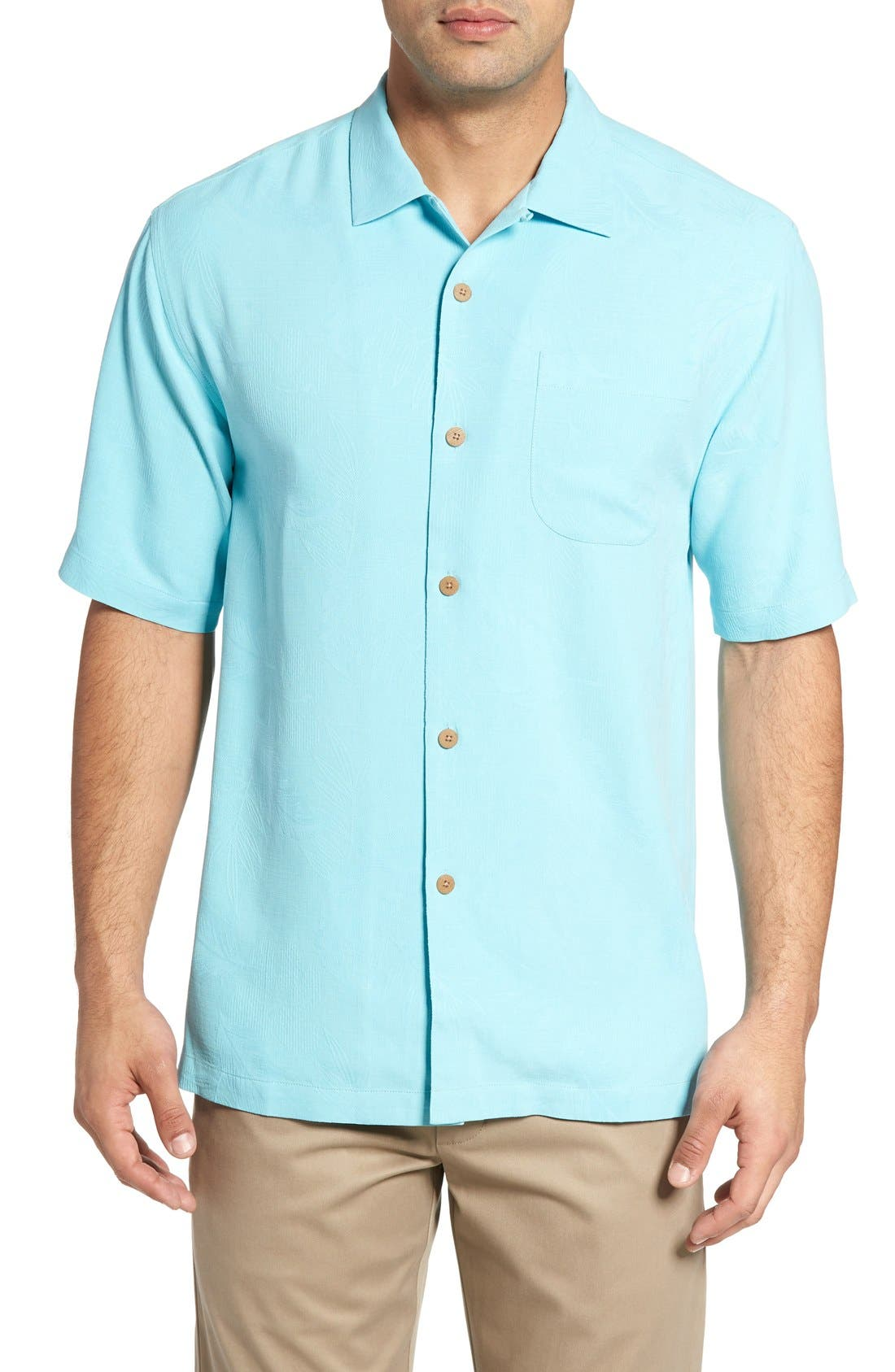 Rio Fronds Short Sleeve Silk Sport Shirt,                             Main thumbnail 13, color,