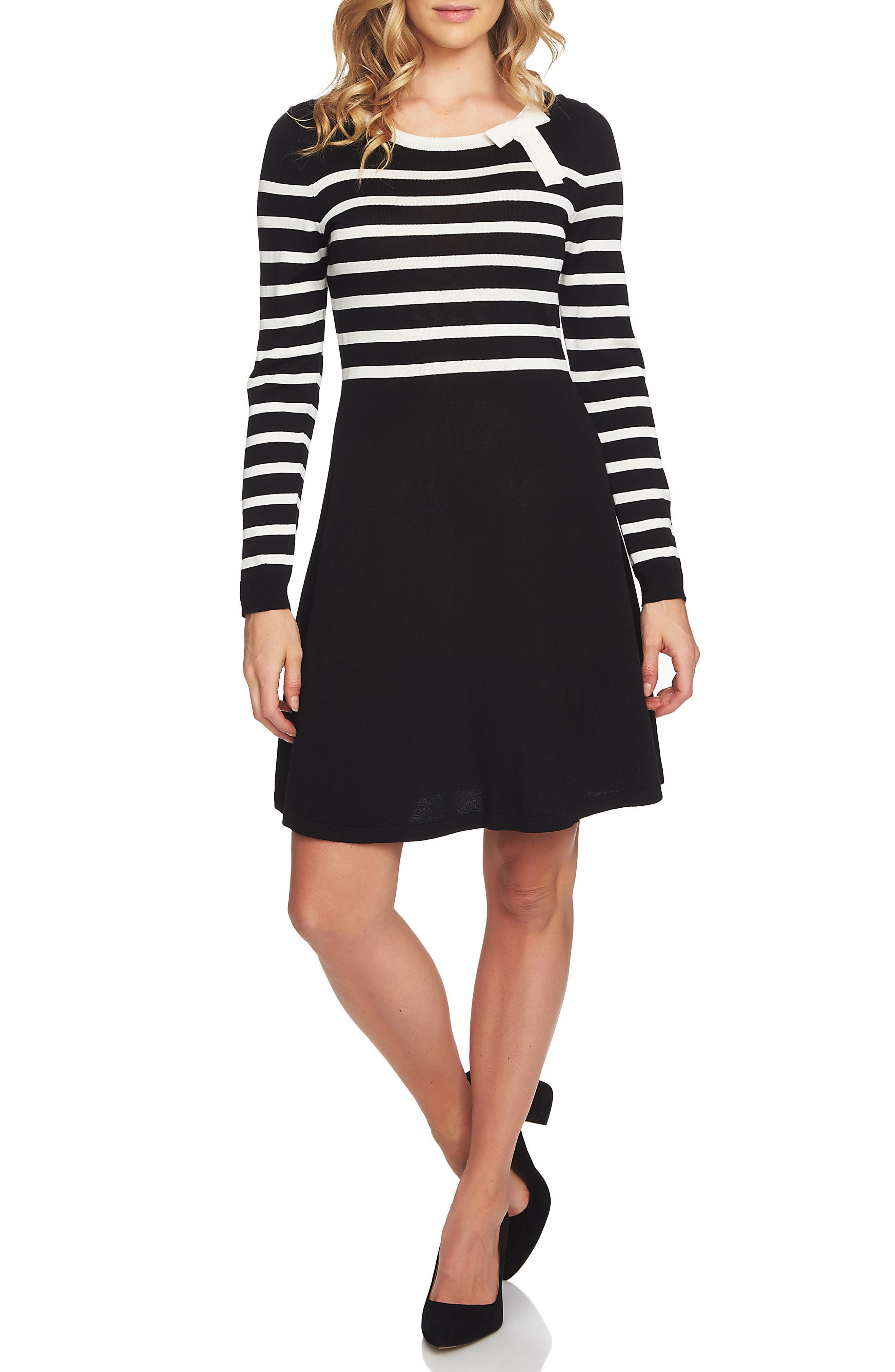 Stripe A-Line Sweater Dress,                             Main thumbnail 1, color,                             006