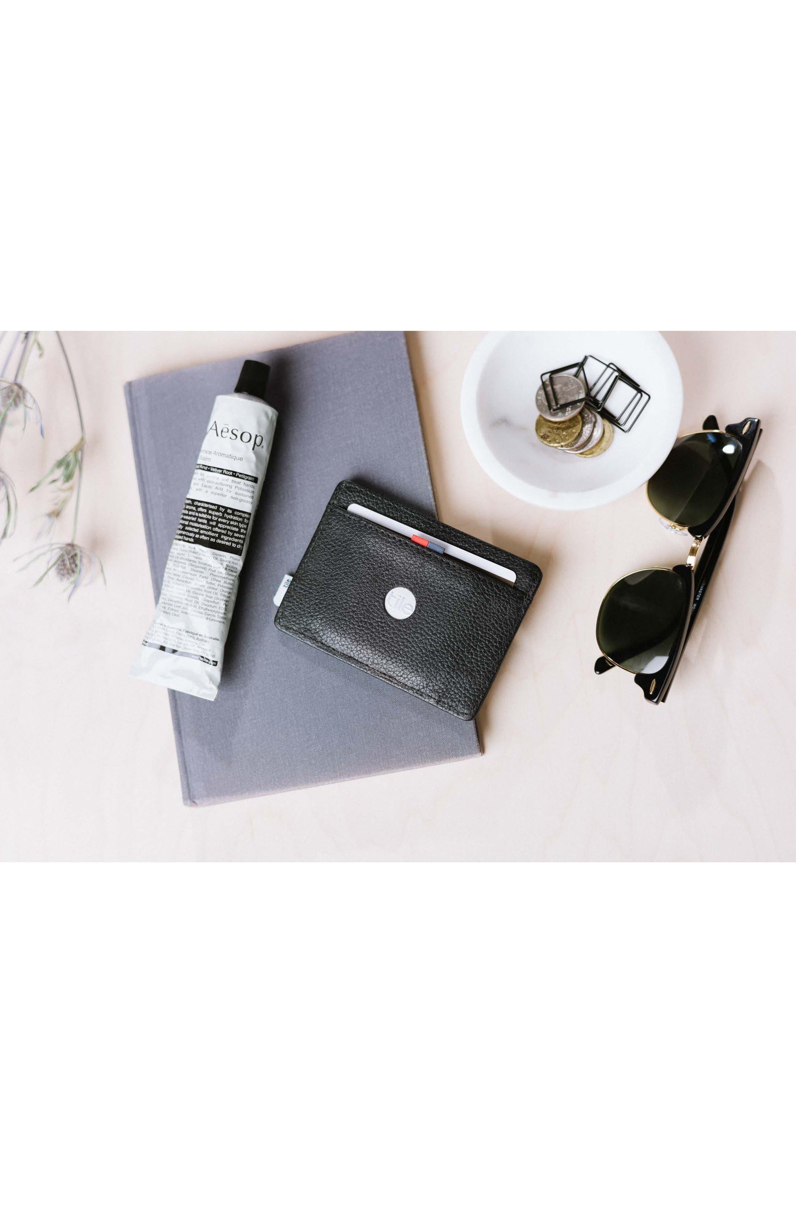 Tile Slim Charlie Leather Card Case,                             Alternate thumbnail 4, color,                             BLACK PEBBLED LEATHER