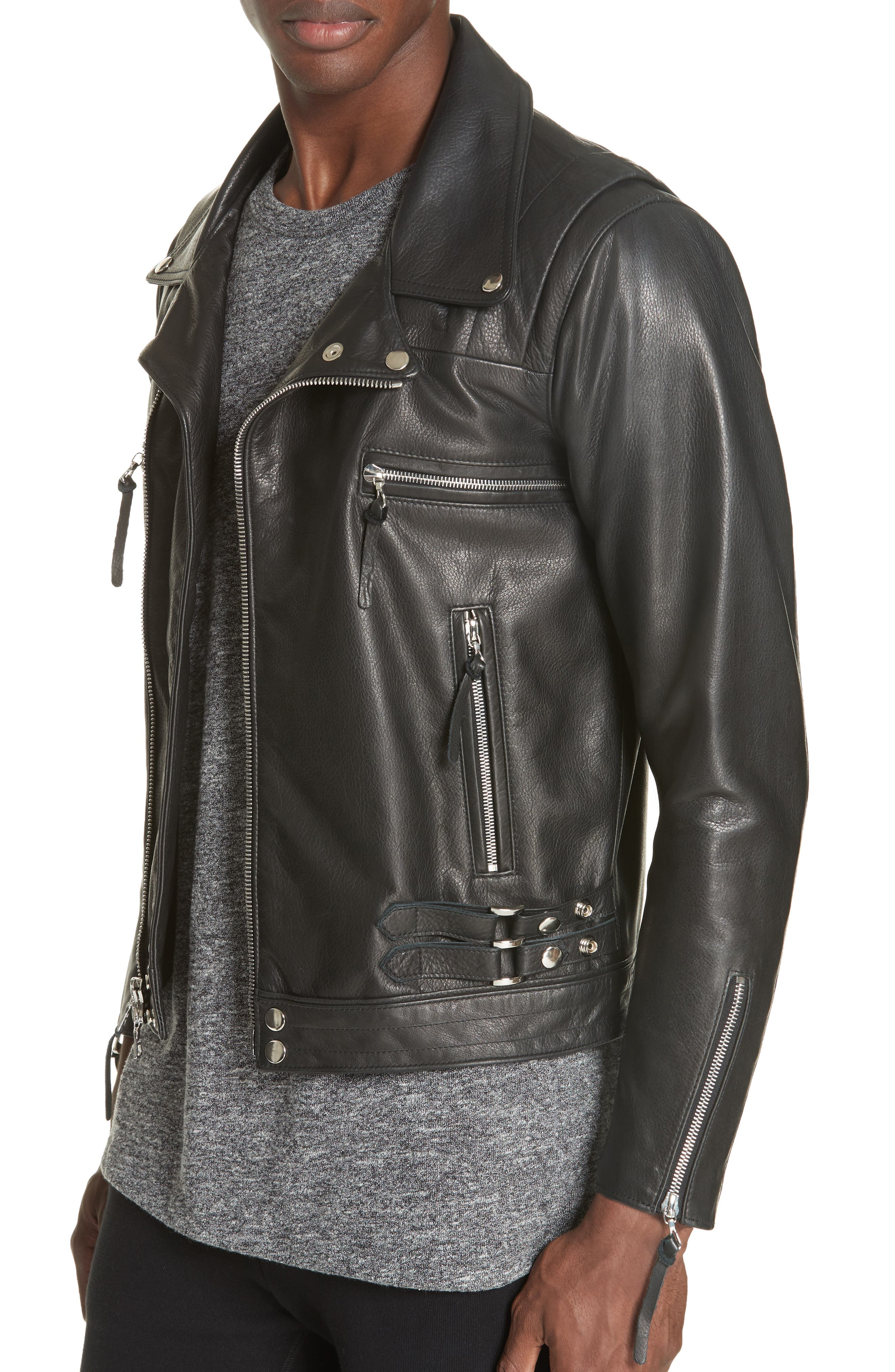 Riders Leather Jacket,                             Alternate thumbnail 4, color,                             BLACK