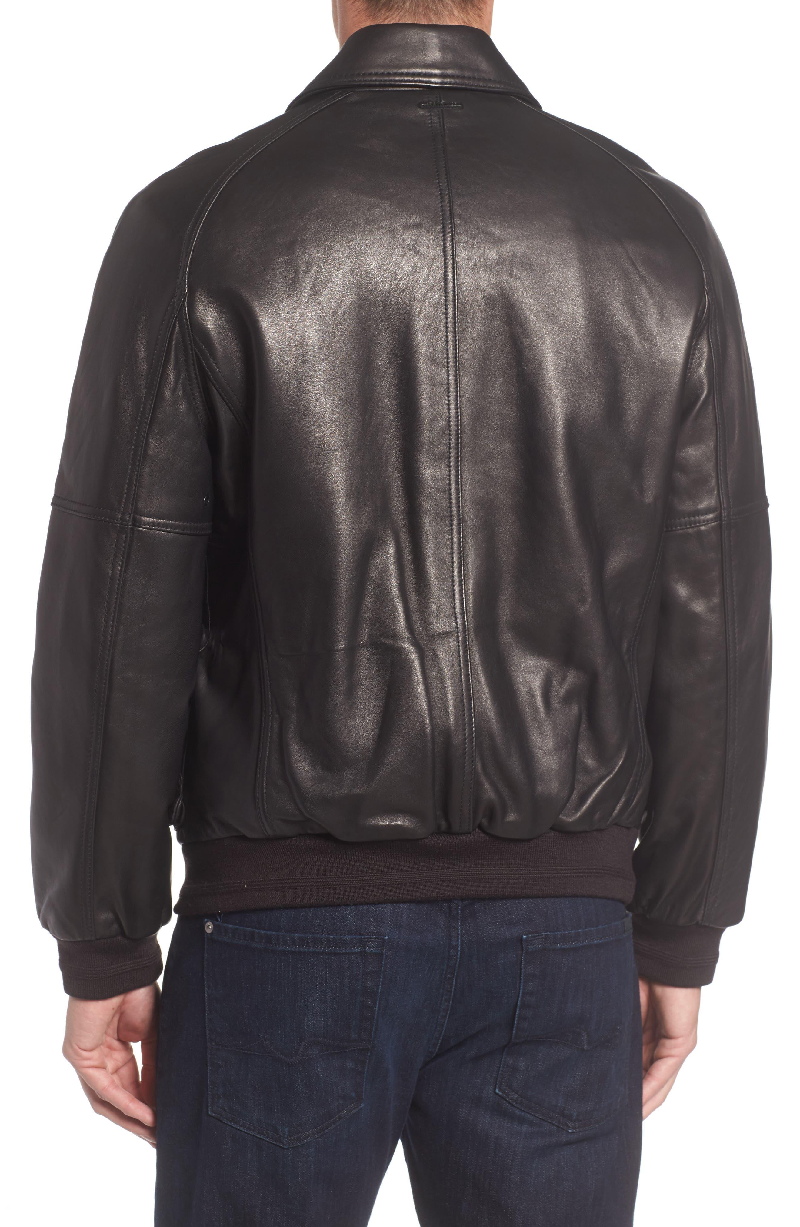 Andrew Marc Lambskin Leather Aviator Jacket,                             Alternate thumbnail 2, color,                             001