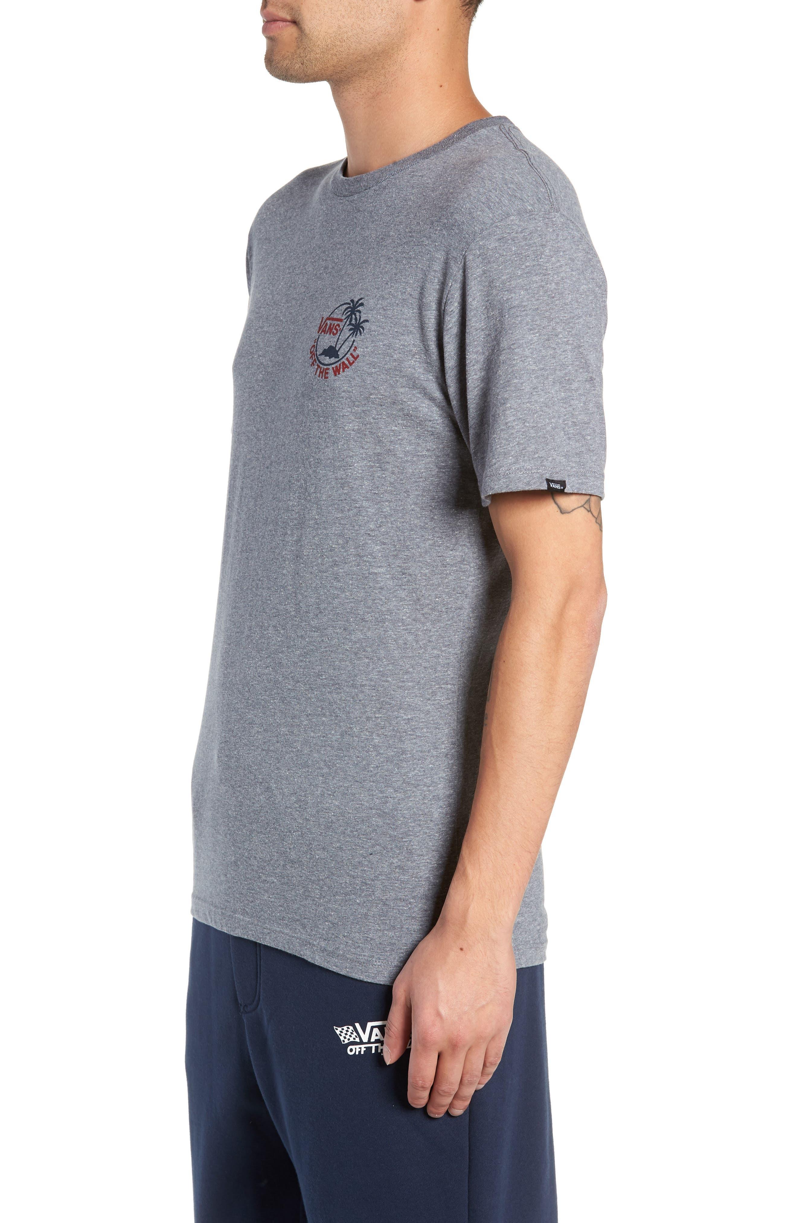 Mini Dual Palm III T-Shirt,                             Alternate thumbnail 3, color,                             HEATHER GREY/ CHILI PEPPER