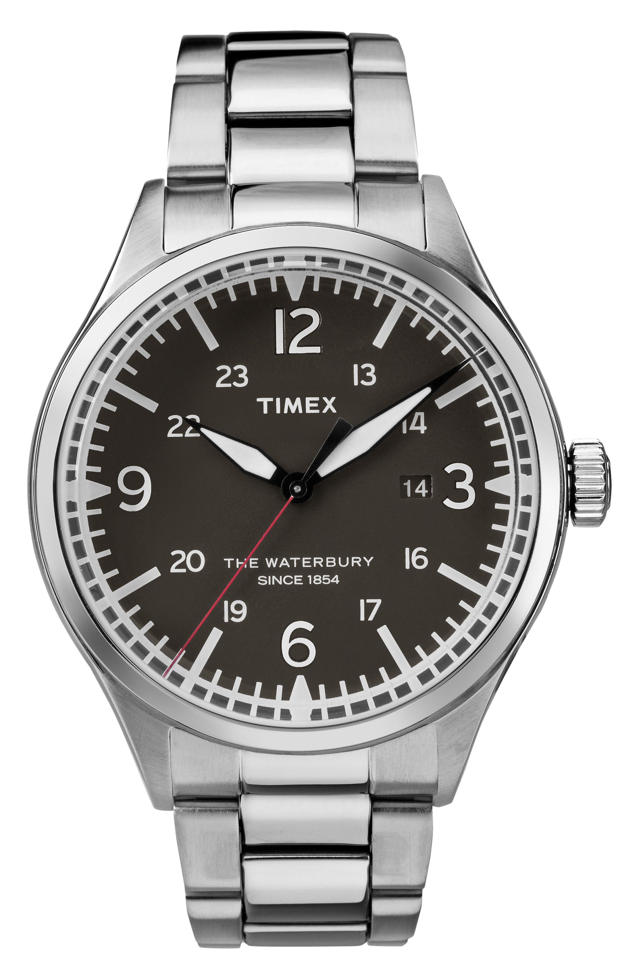 Waterbury Bracelet Watch, 40mm,                             Main thumbnail 1, color,                             SILVER/ BLACK/ SILVER