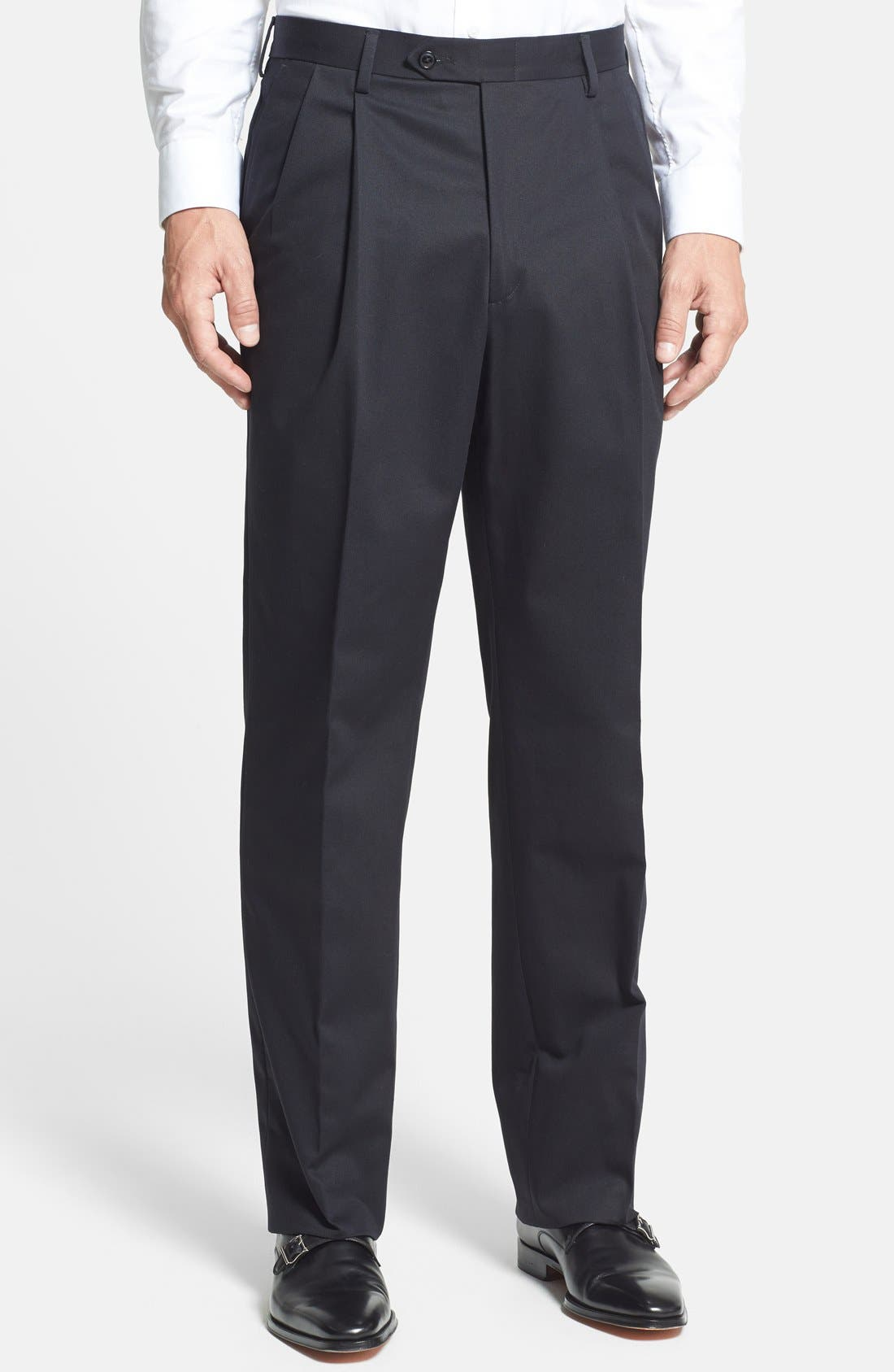 Pleated Cotton Trousers,                         Main,                         color, BLACK