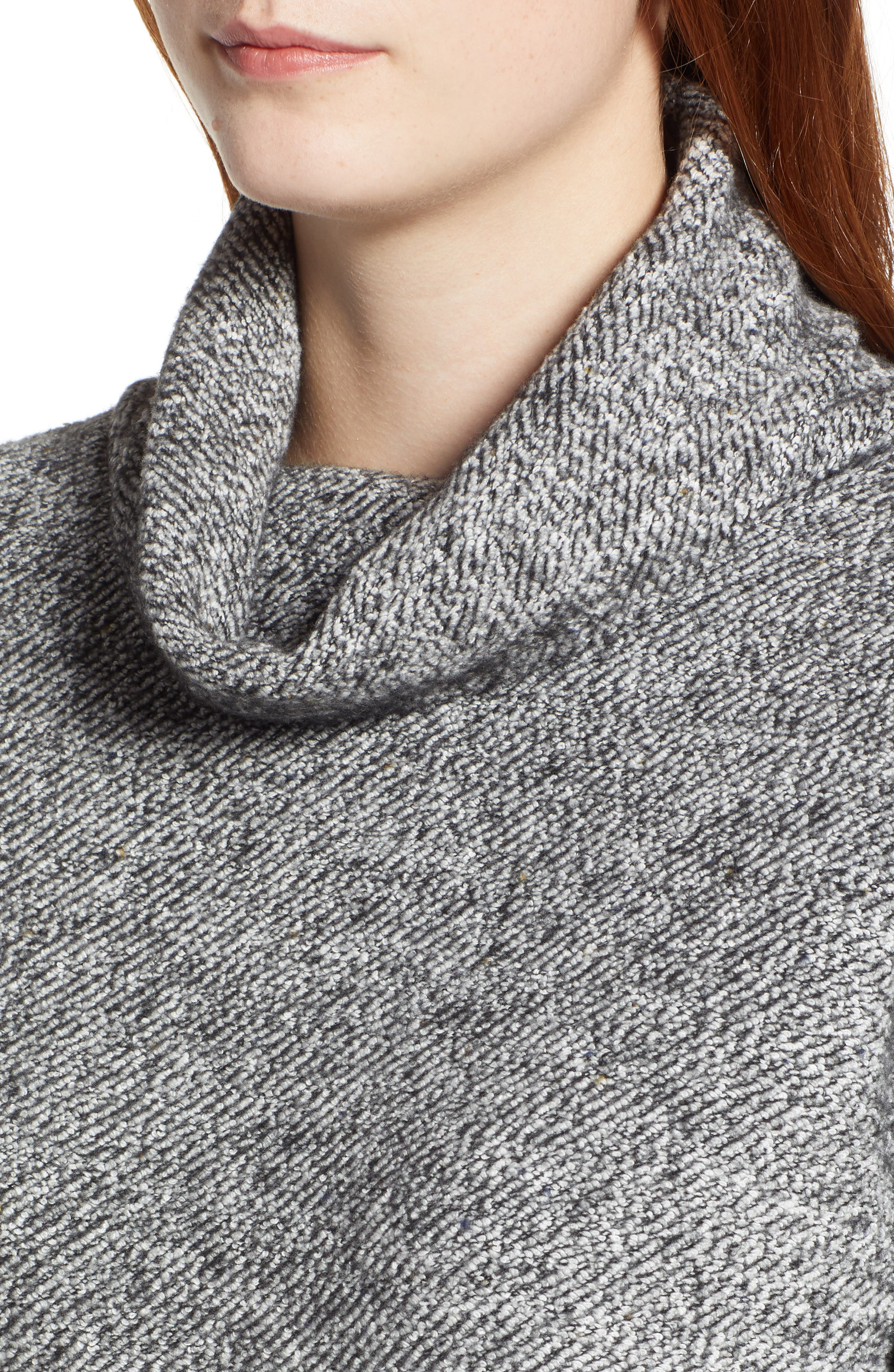 Tweed Cowl Neck Sweater,                             Alternate thumbnail 4, color,                             001