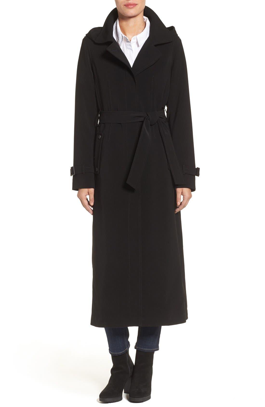 Full Length Hooded Nepage Raincoat,                             Main thumbnail 1, color,                             BLACK