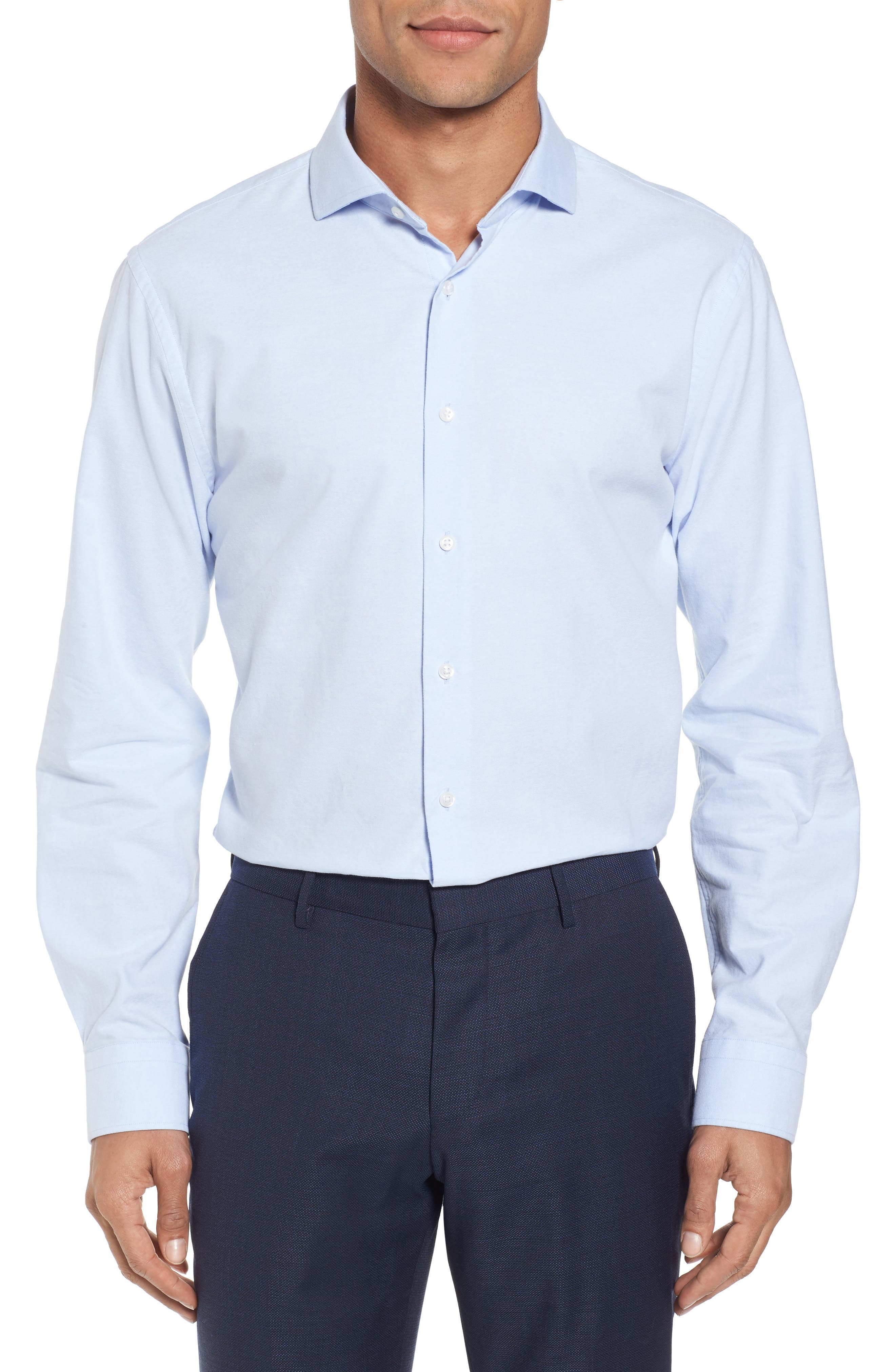Trim Fit Patterned Dress Shirt,                             Main thumbnail 1, color,