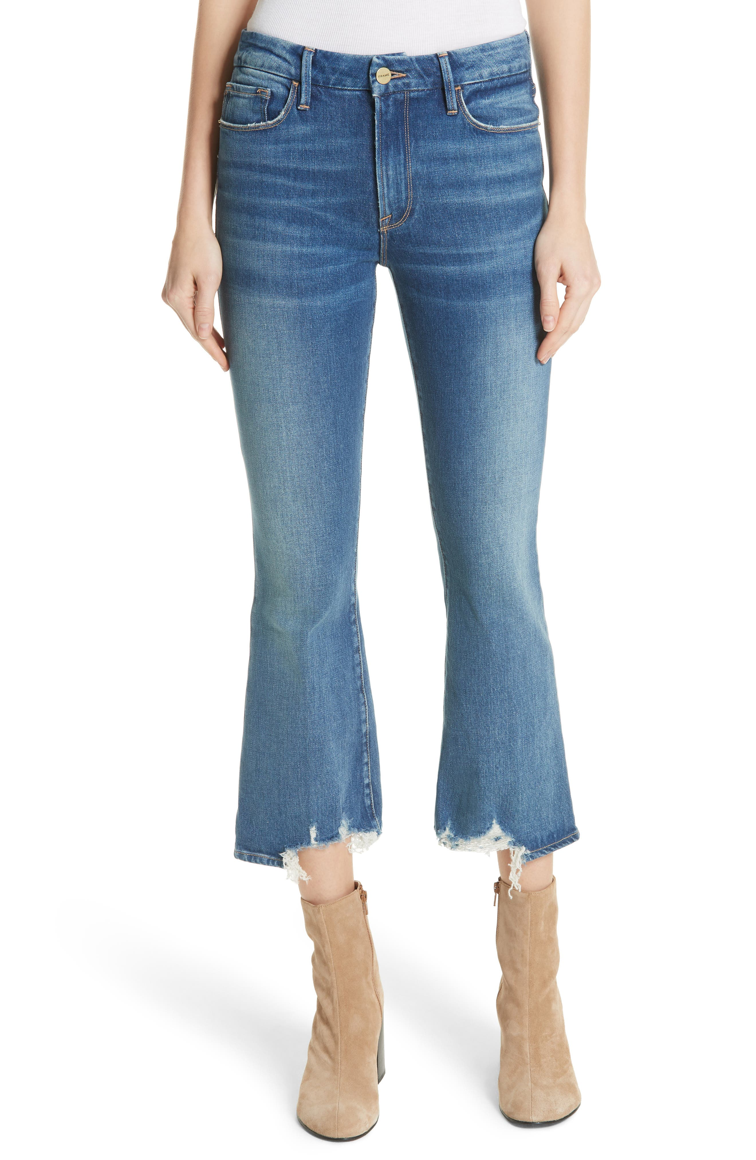 Le Crop Mini Boot Raw Hem Jeans,                             Main thumbnail 1, color,                             CLAPPSON