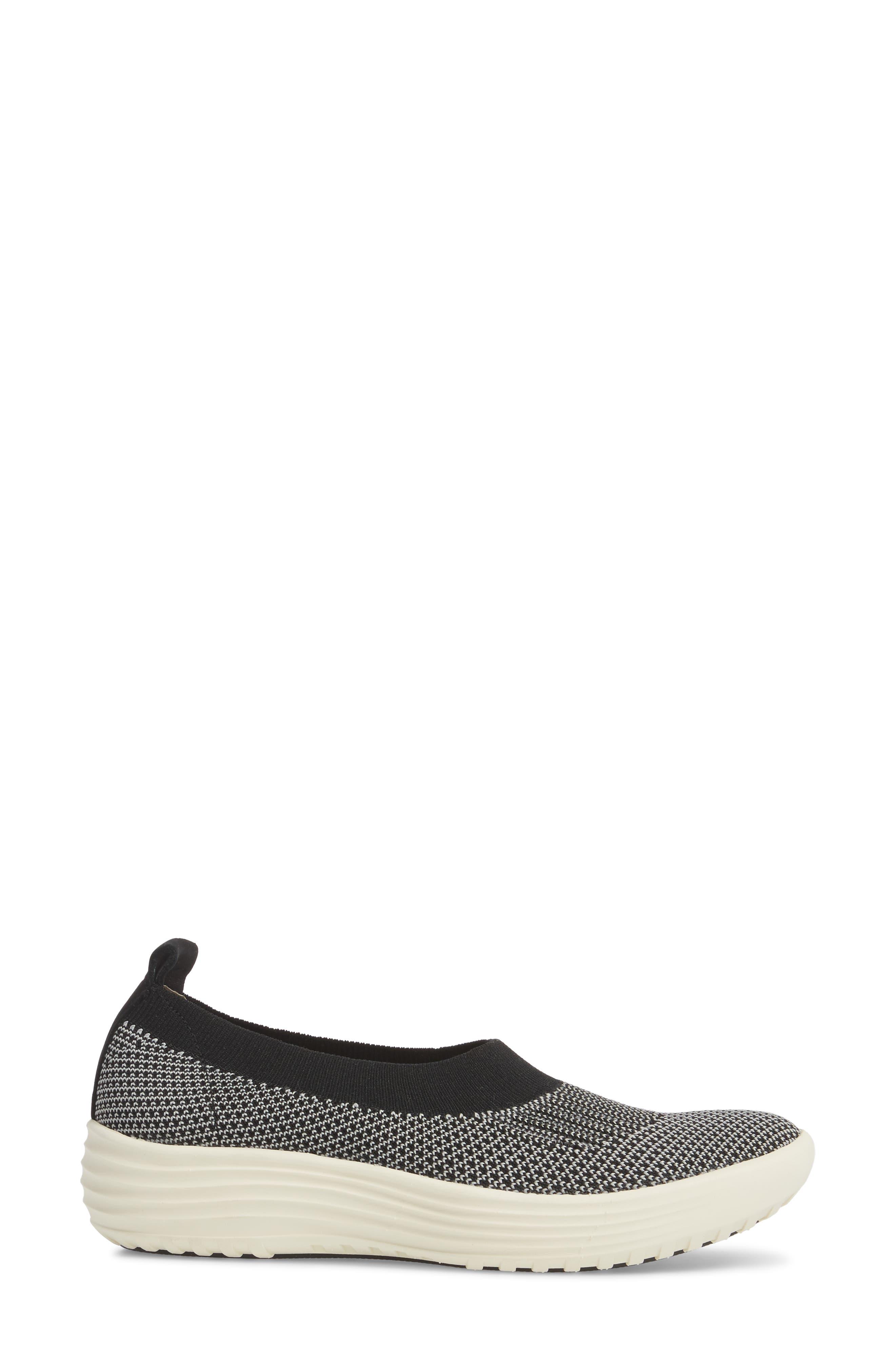 Merigold Slip-On Sock Fit Sneaker,                             Alternate thumbnail 3, color,                             BLACK/ MIST GREY FABRIC