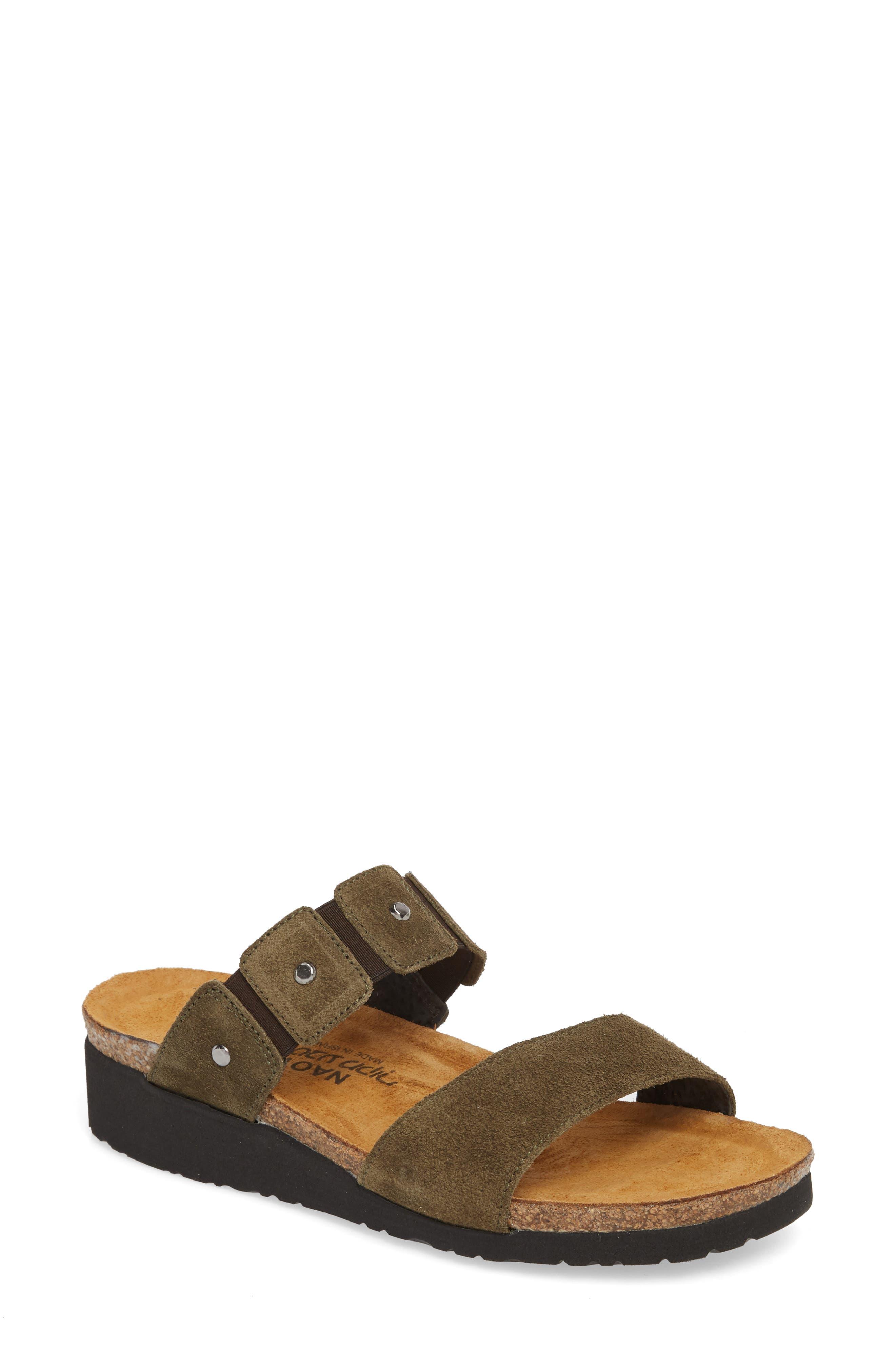 Scarlett Slide Sandal,                         Main,                         color, OILY OLIVE SUEDE