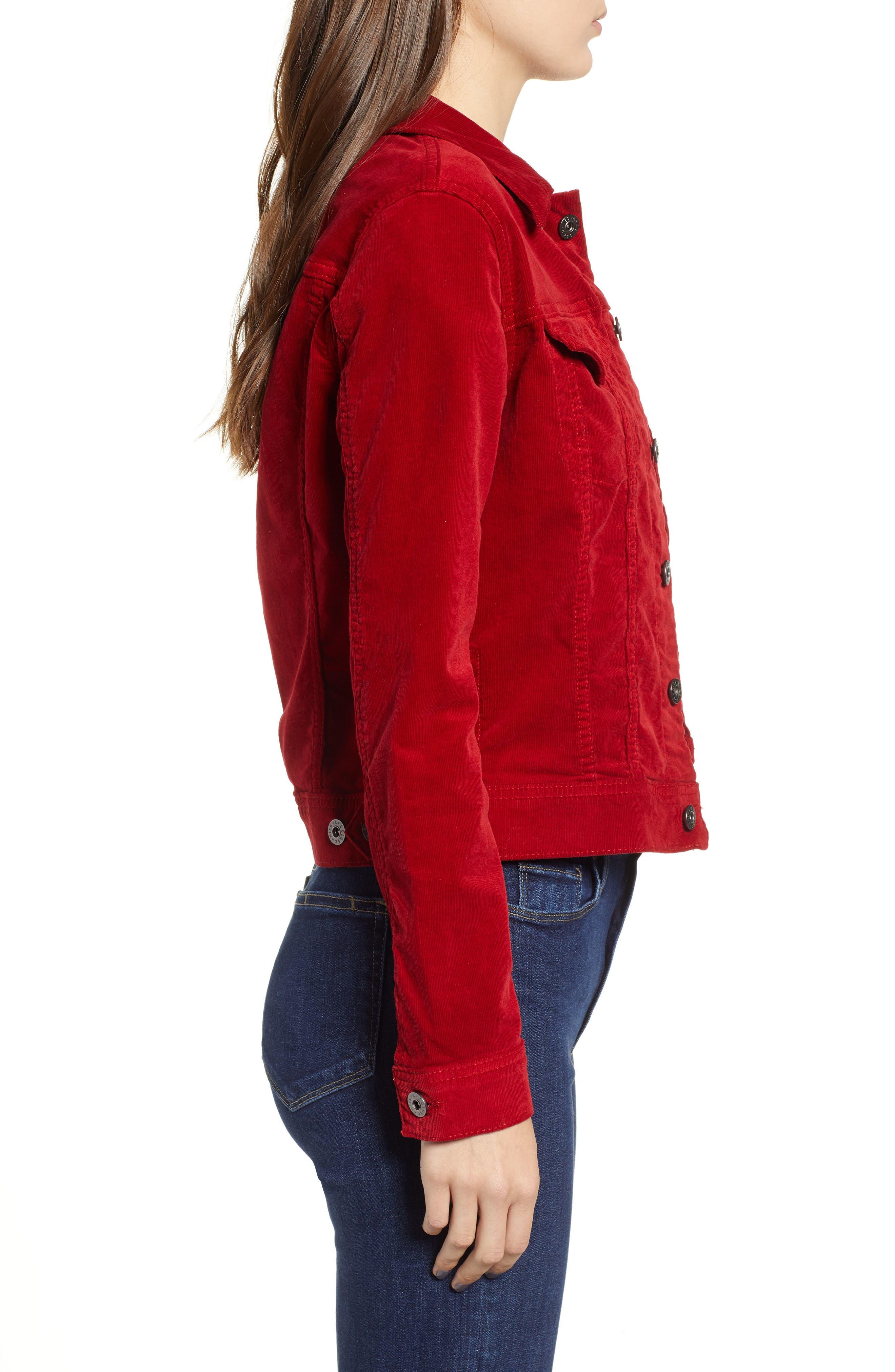 Robyn Corduroy Jacket,                             Alternate thumbnail 3, color,                             RED AMARYLLIS